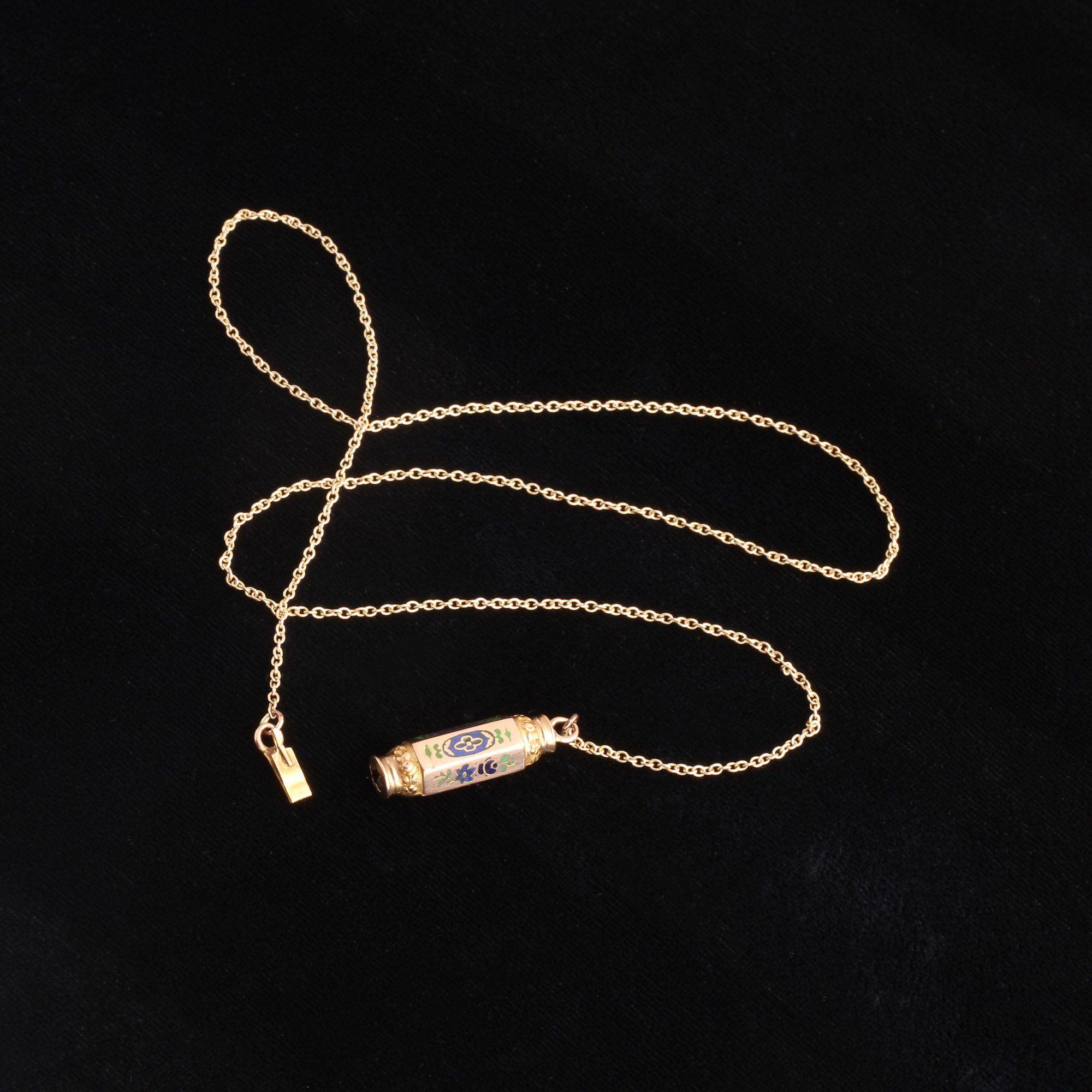 Victorian Enamel Barrel Clasp Necklace