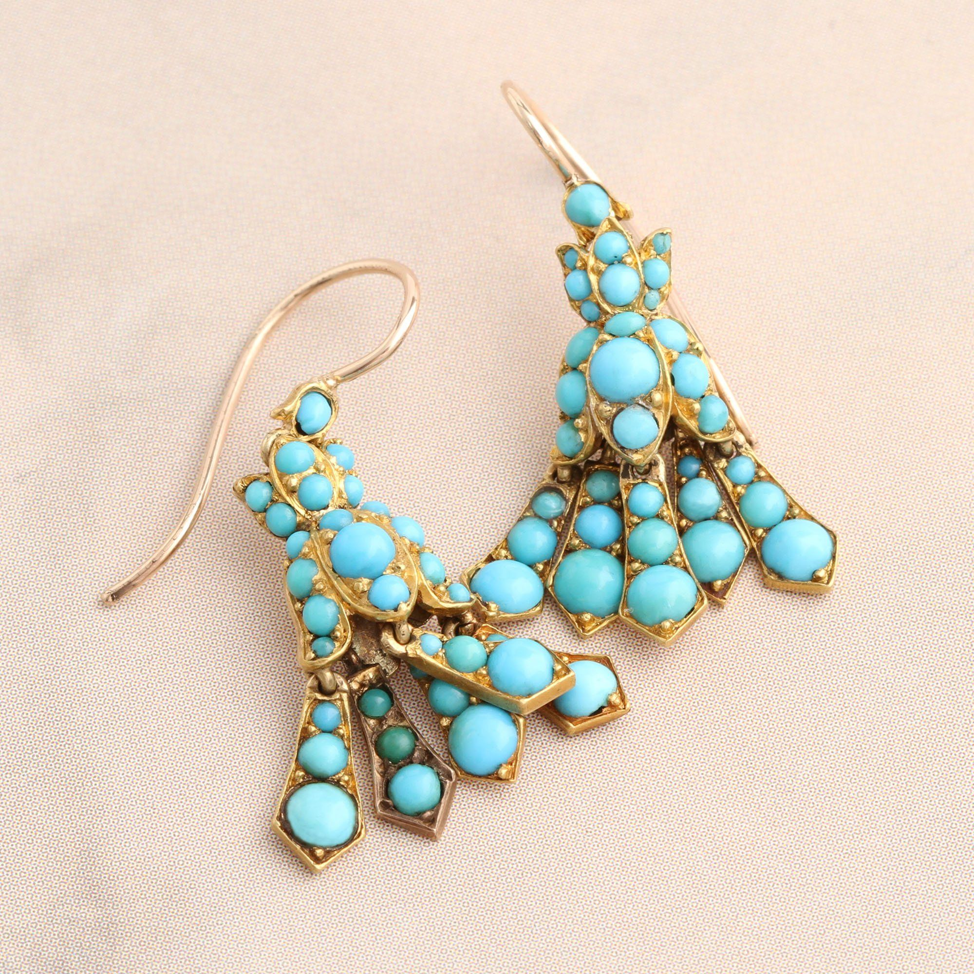 Detail of Victorian Turquoise Bluebell Earrings