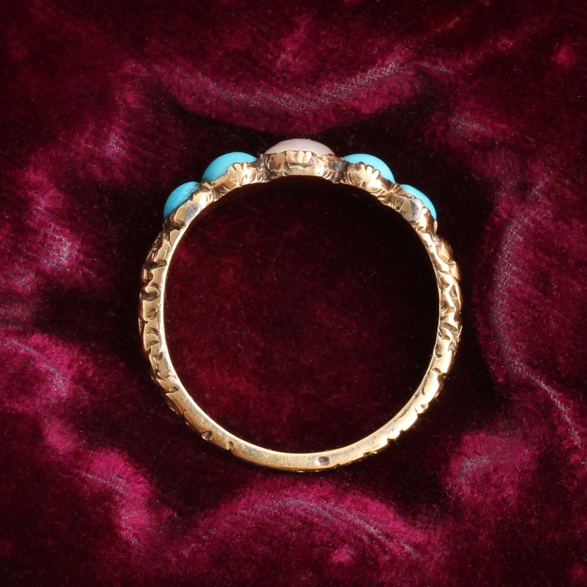 Georgian Turquoise and Pearl Five Stone Ring