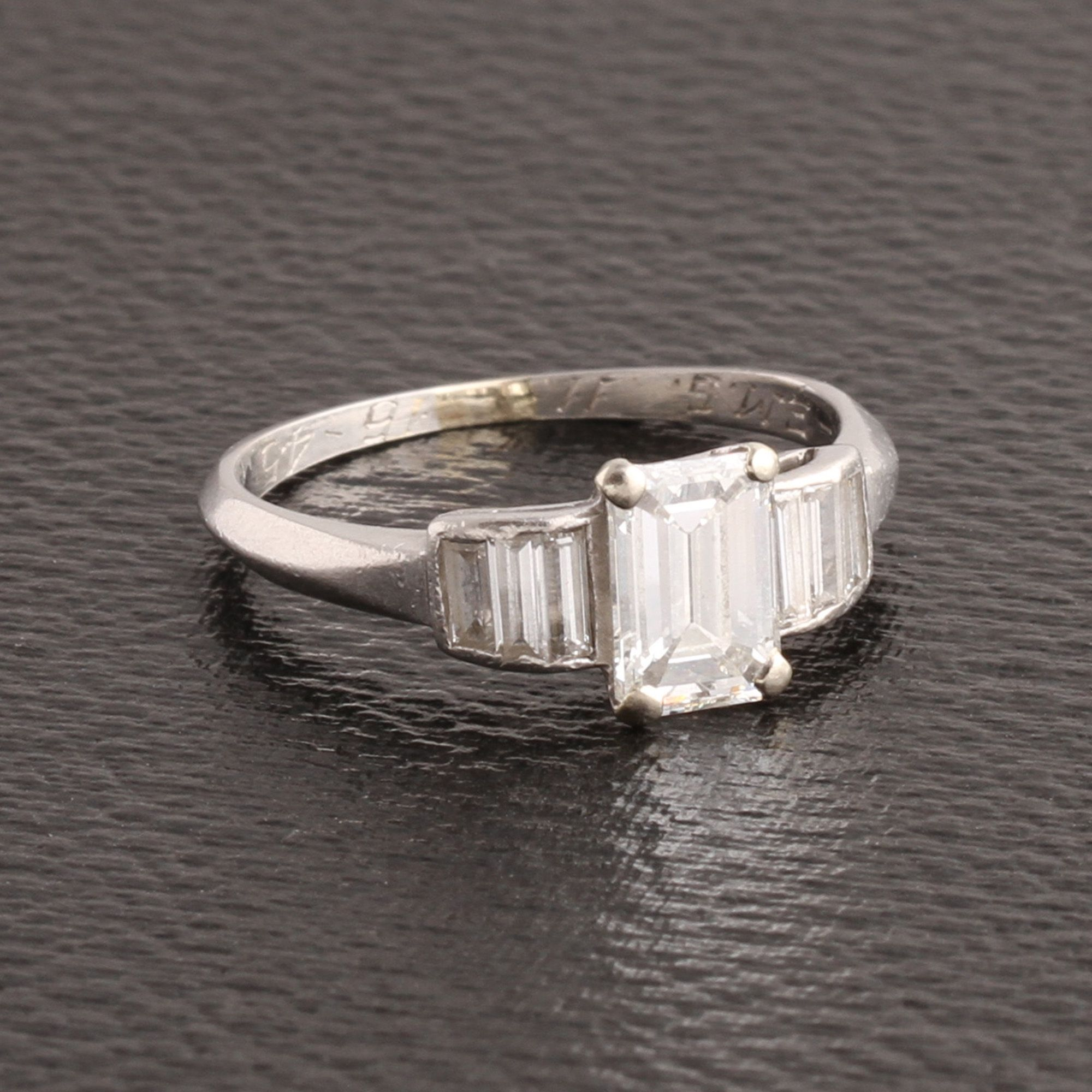 1940s 1ct Emerald Cut Engagement Ring with Baguette Diamond Shoulders