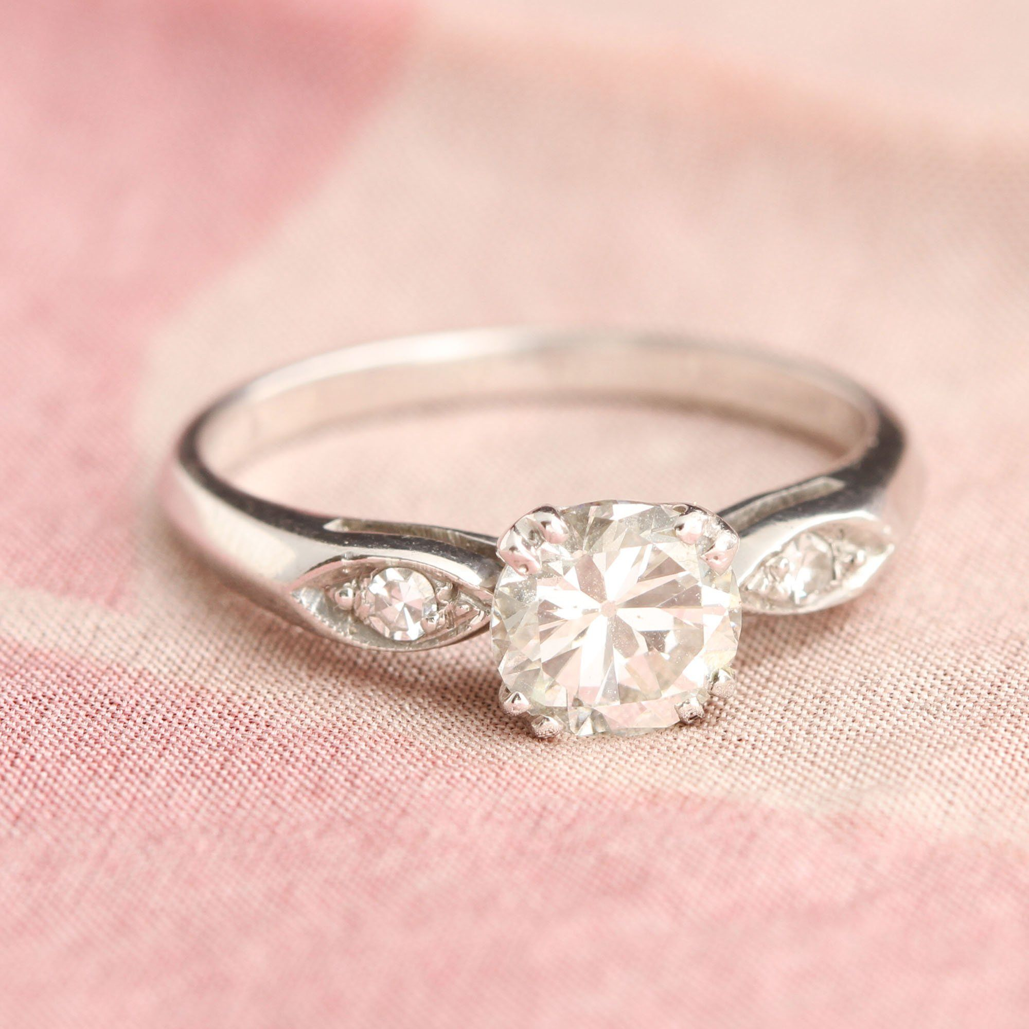 Platinum .84ct Old European Cut Diamond Engagement Ring with Petal Shoulders
