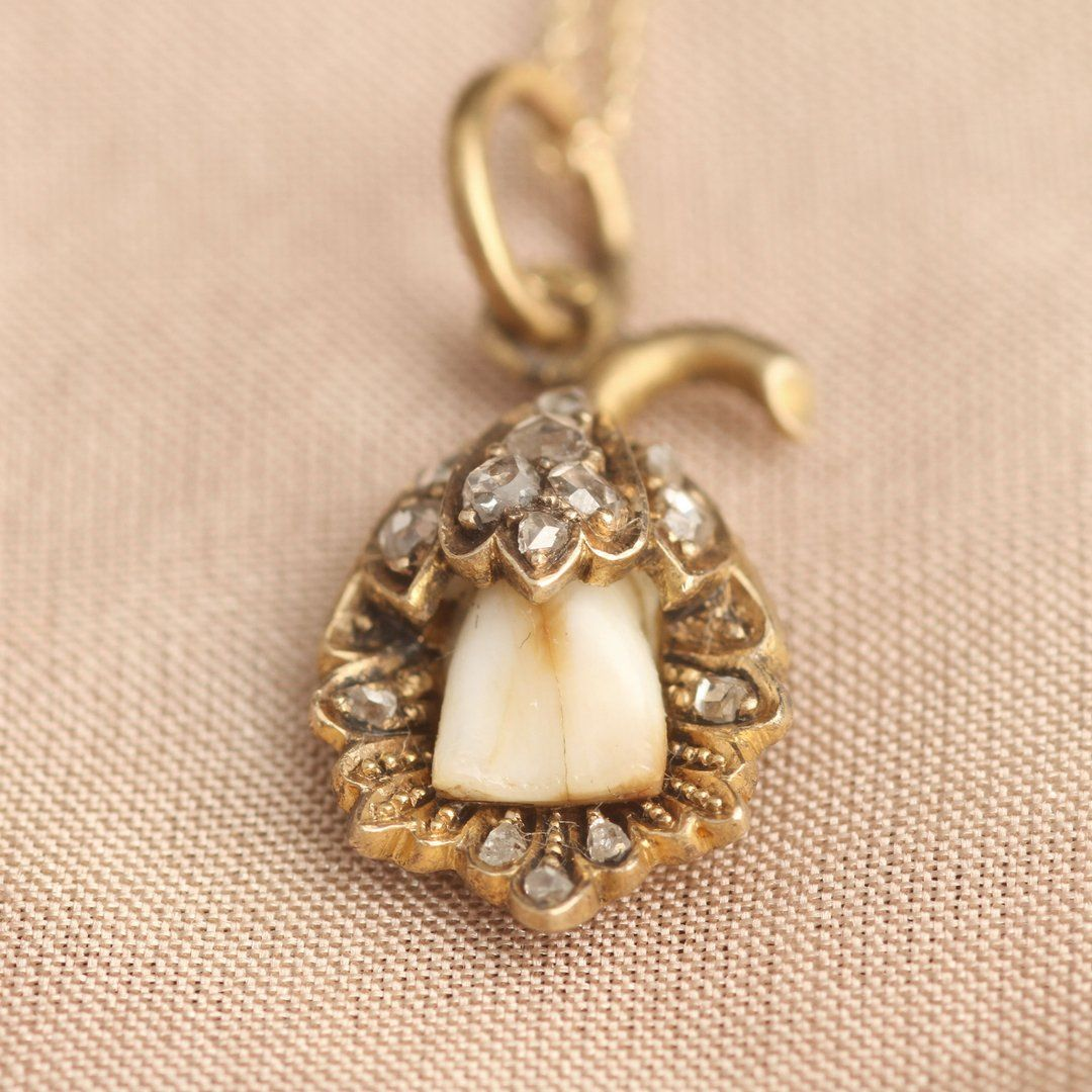 Victorian Milk Tooth in Ornate Floral Mounting with Rose Cut Diamonds