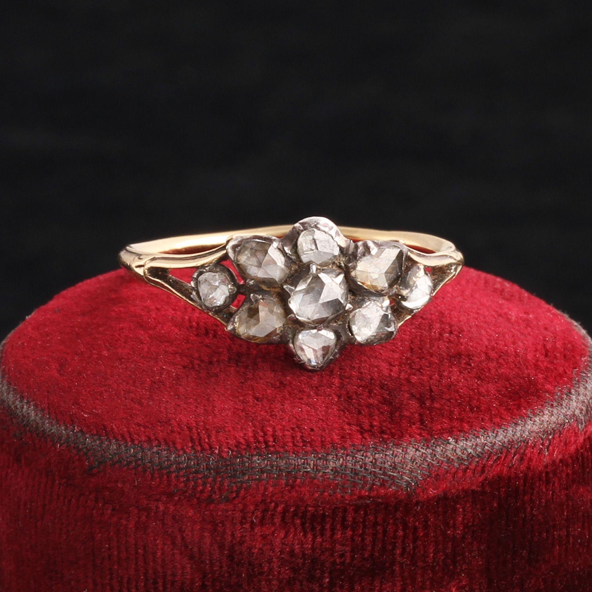 Georgian Rose Cut Diamond Floral Cluster Ring