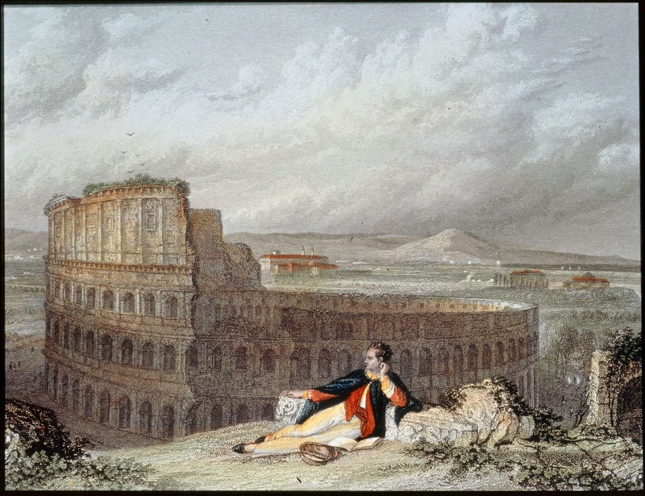 Lord George Byron contemplating the Colosseum in Rome by Arthur Willmore