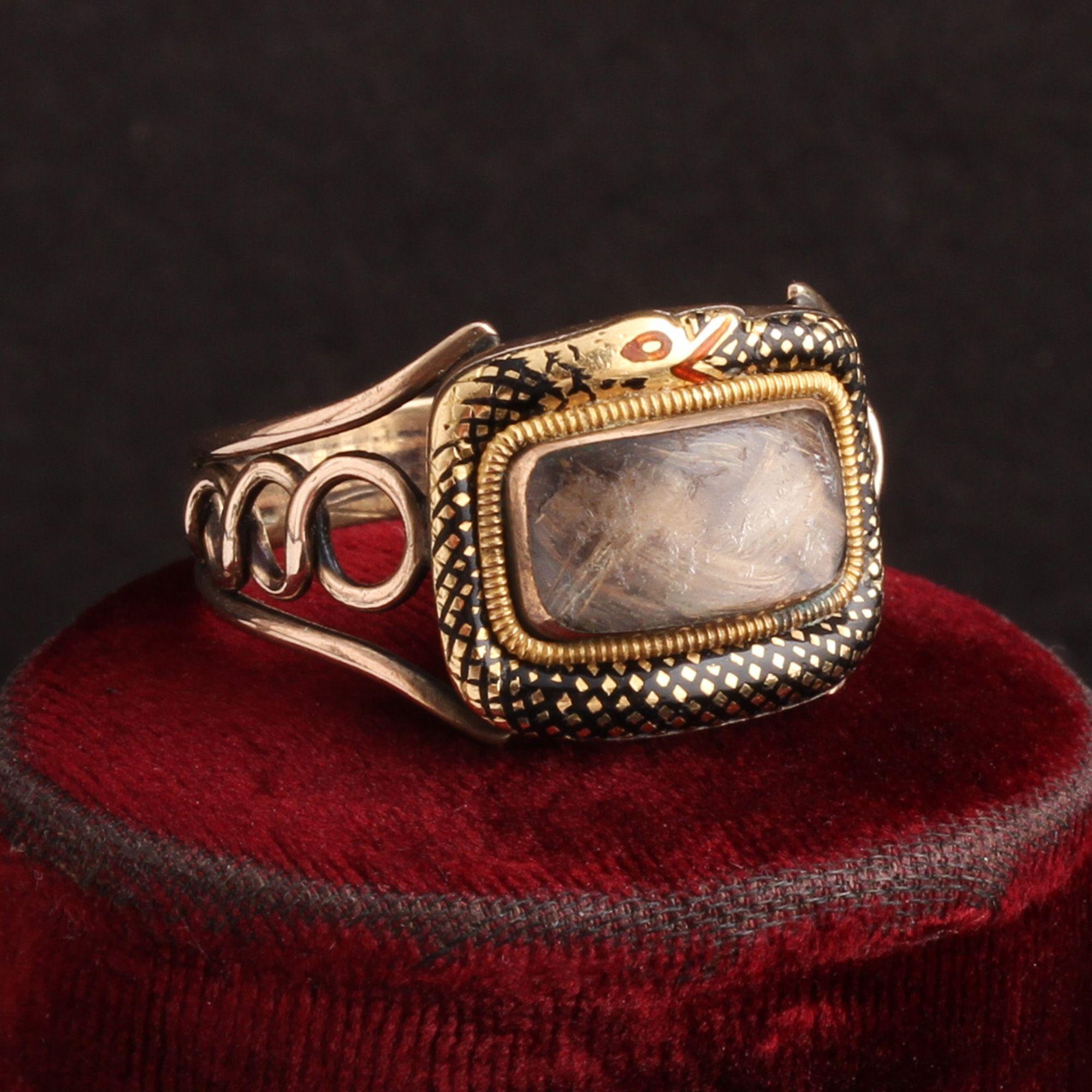 Georgian Enameled Ouroboros Mourning Ring