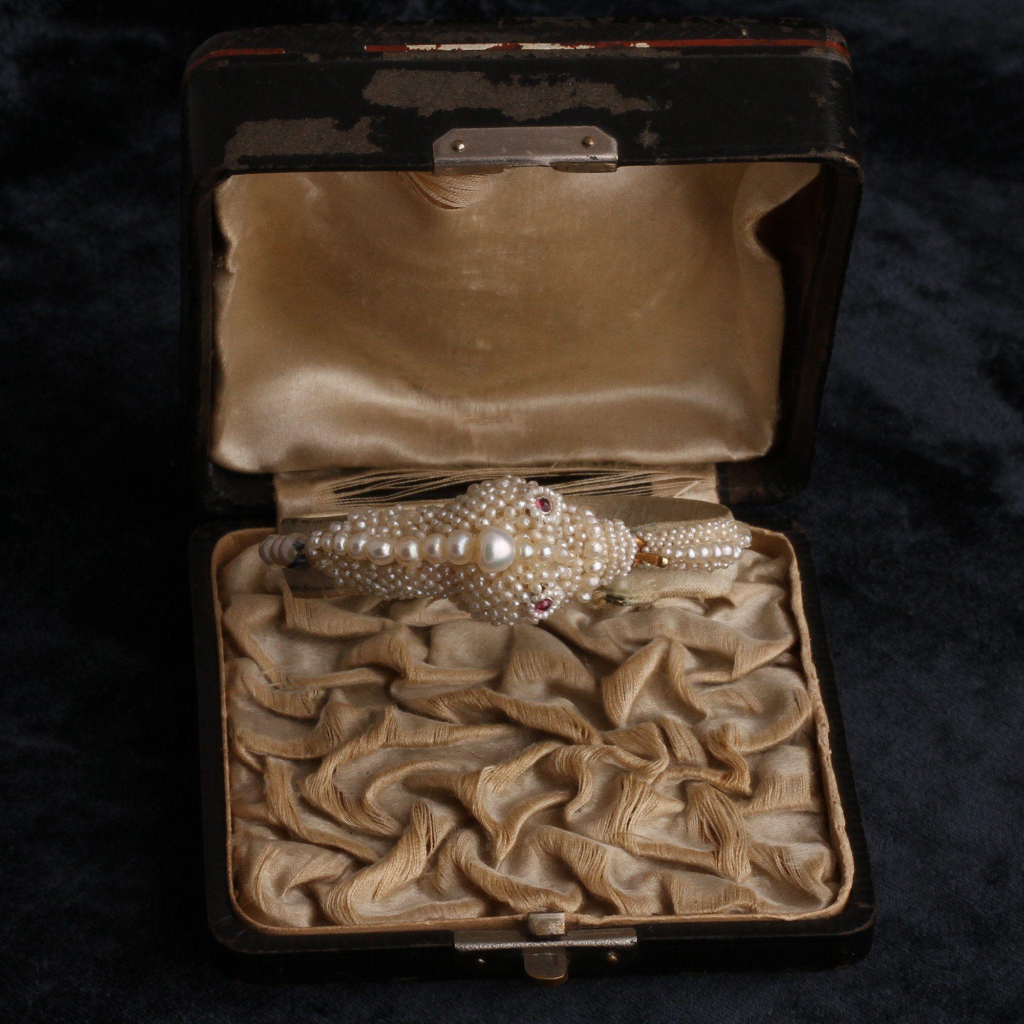 Victorian Pearl and Garnet Snake Bracelet in Original Box