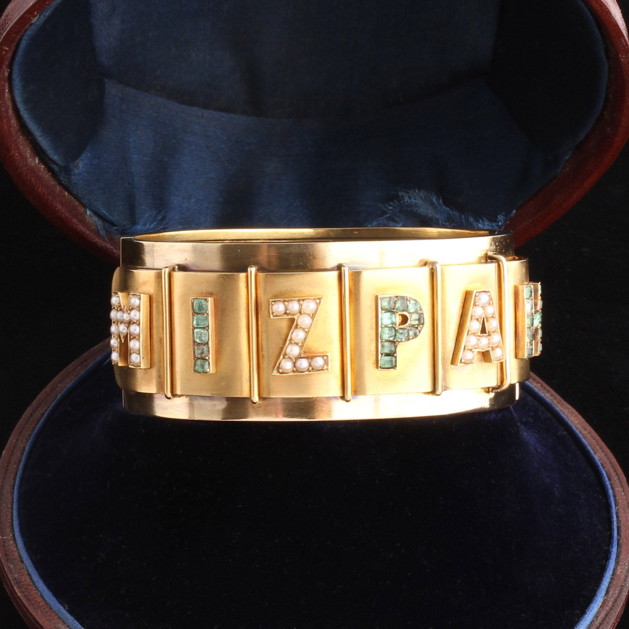 Victorian Emerald & Pearl Mizpah Bracelet