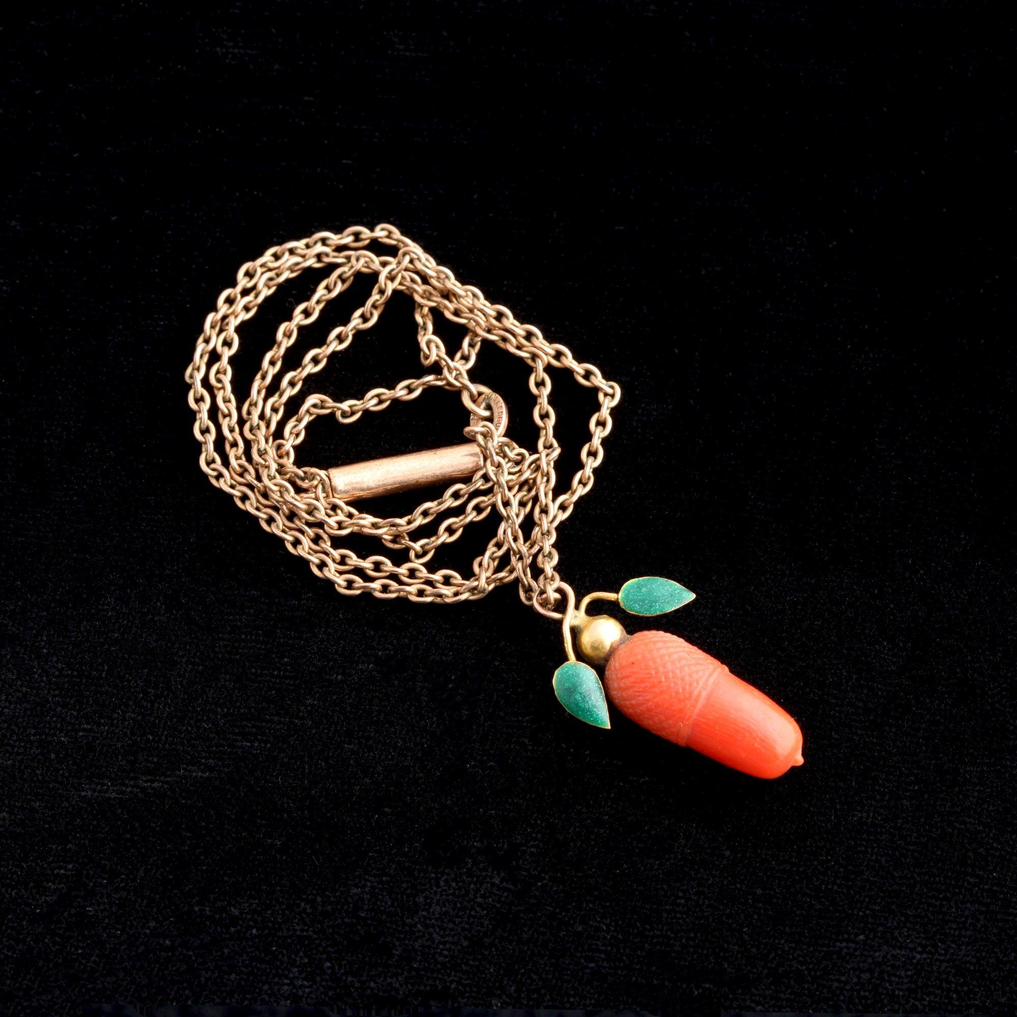 Victorian Coral Acorn Necklace