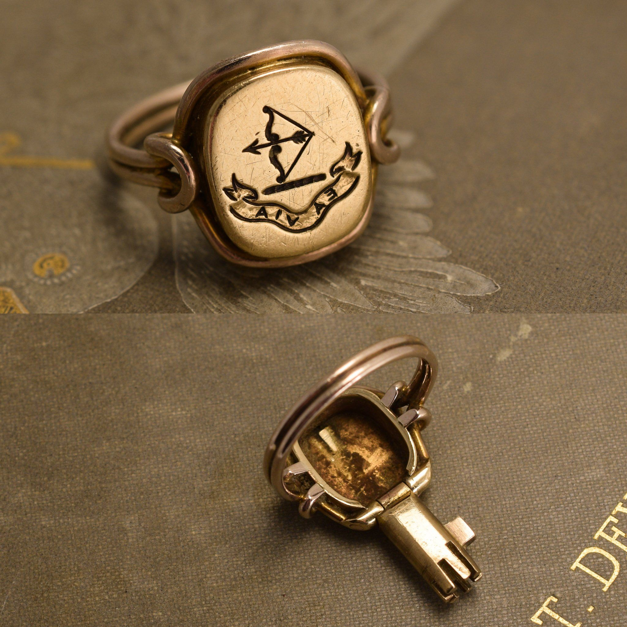 "Detail of ""Ea Via"" Bow and Arrow Signet Ring with Concealed Key"