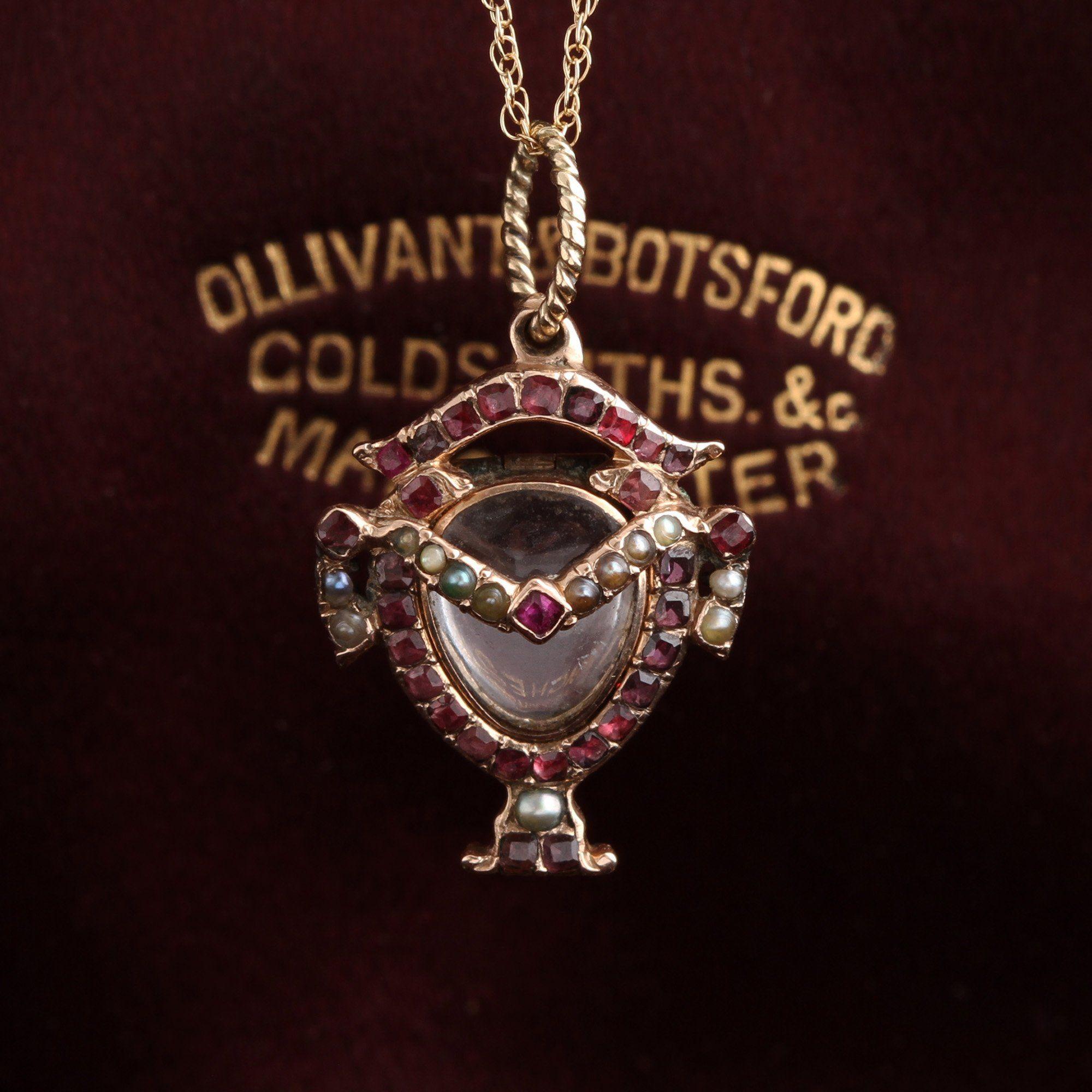 Early Victorian Ruby, Garnet and Pearl Urn Locket