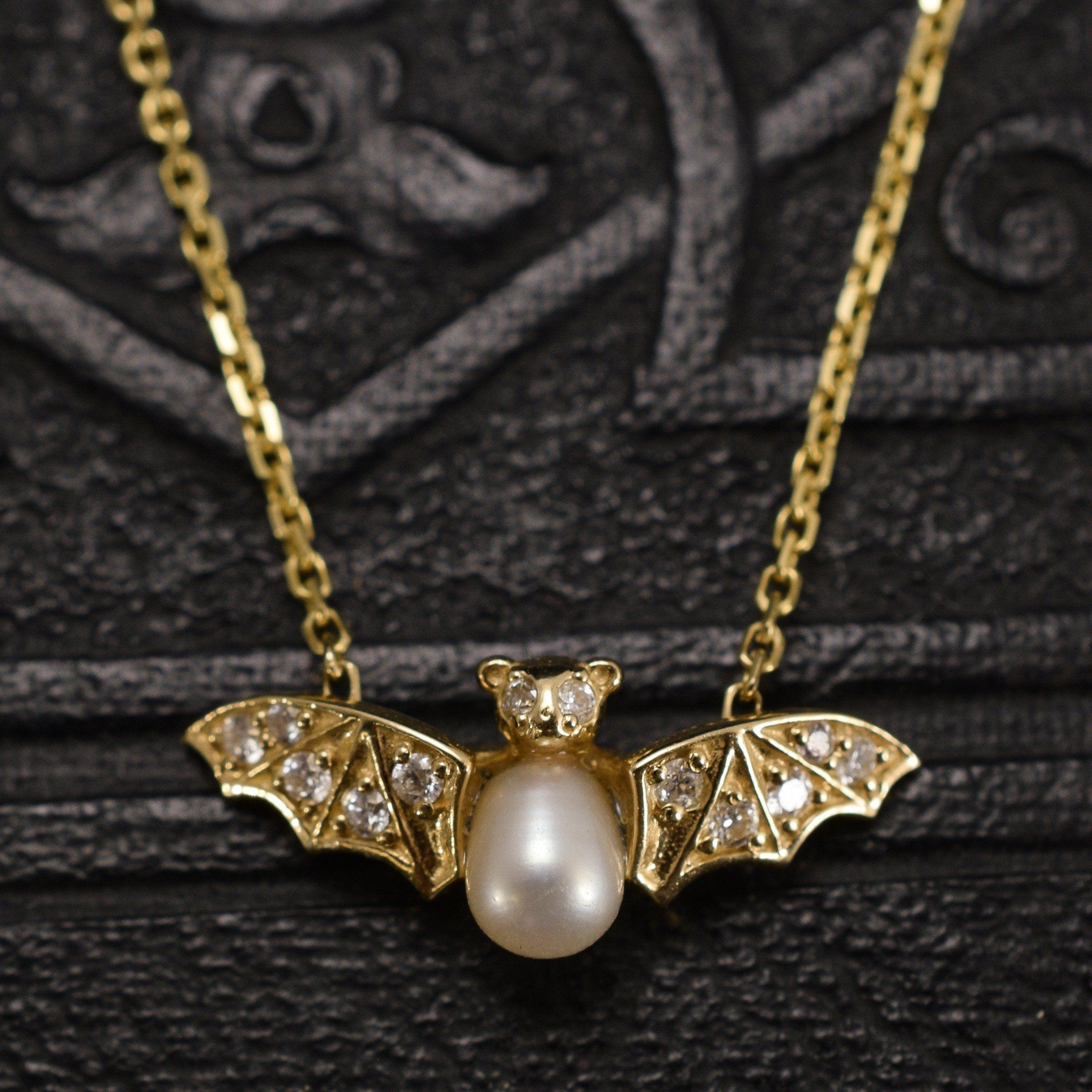 Jeweled bat necklace