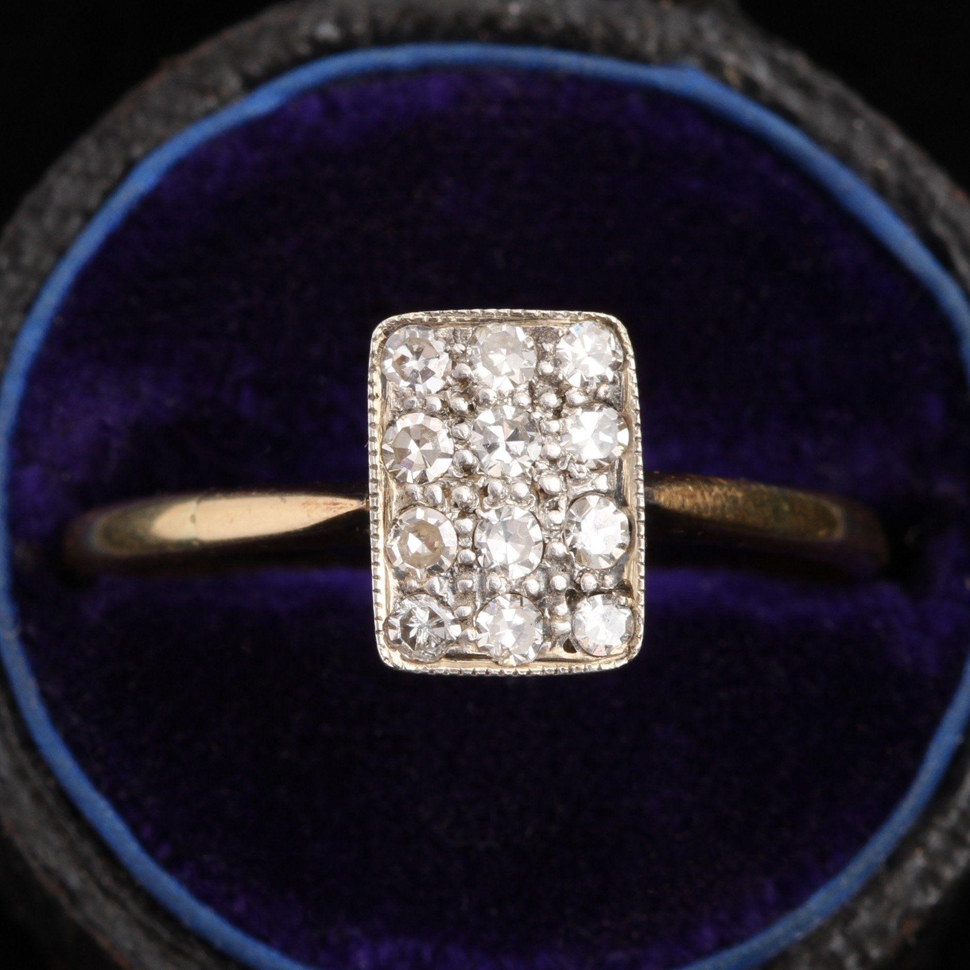 Deco Rectangular Diamond Cluster Ring