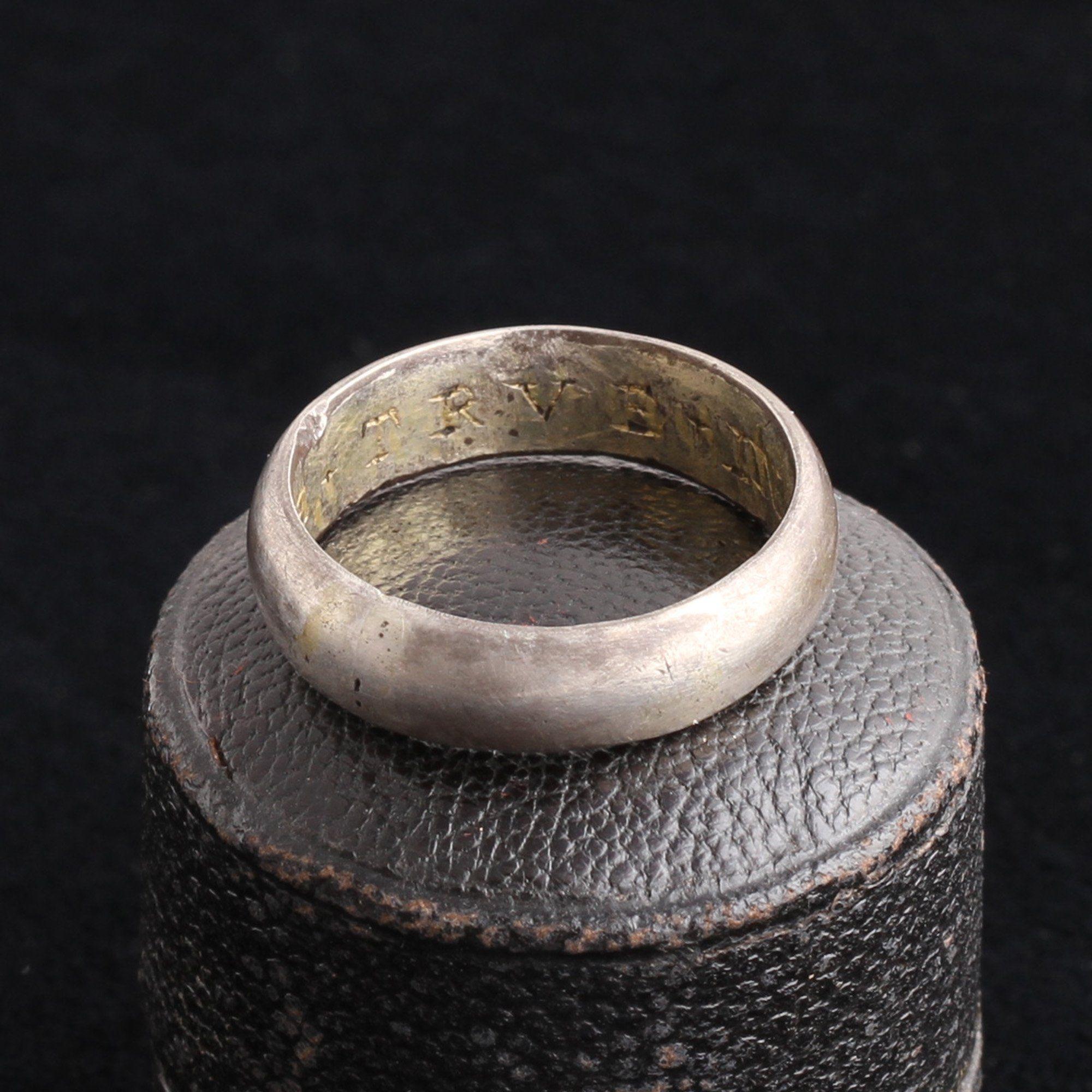 """""""Be + True + In + Hart"""" Silver Posy Ring"""