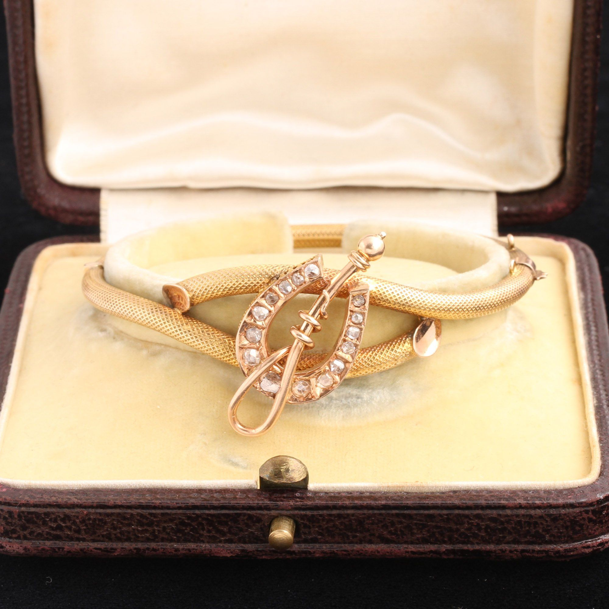 Late 19th Century French Equestrian Diamond Bangle