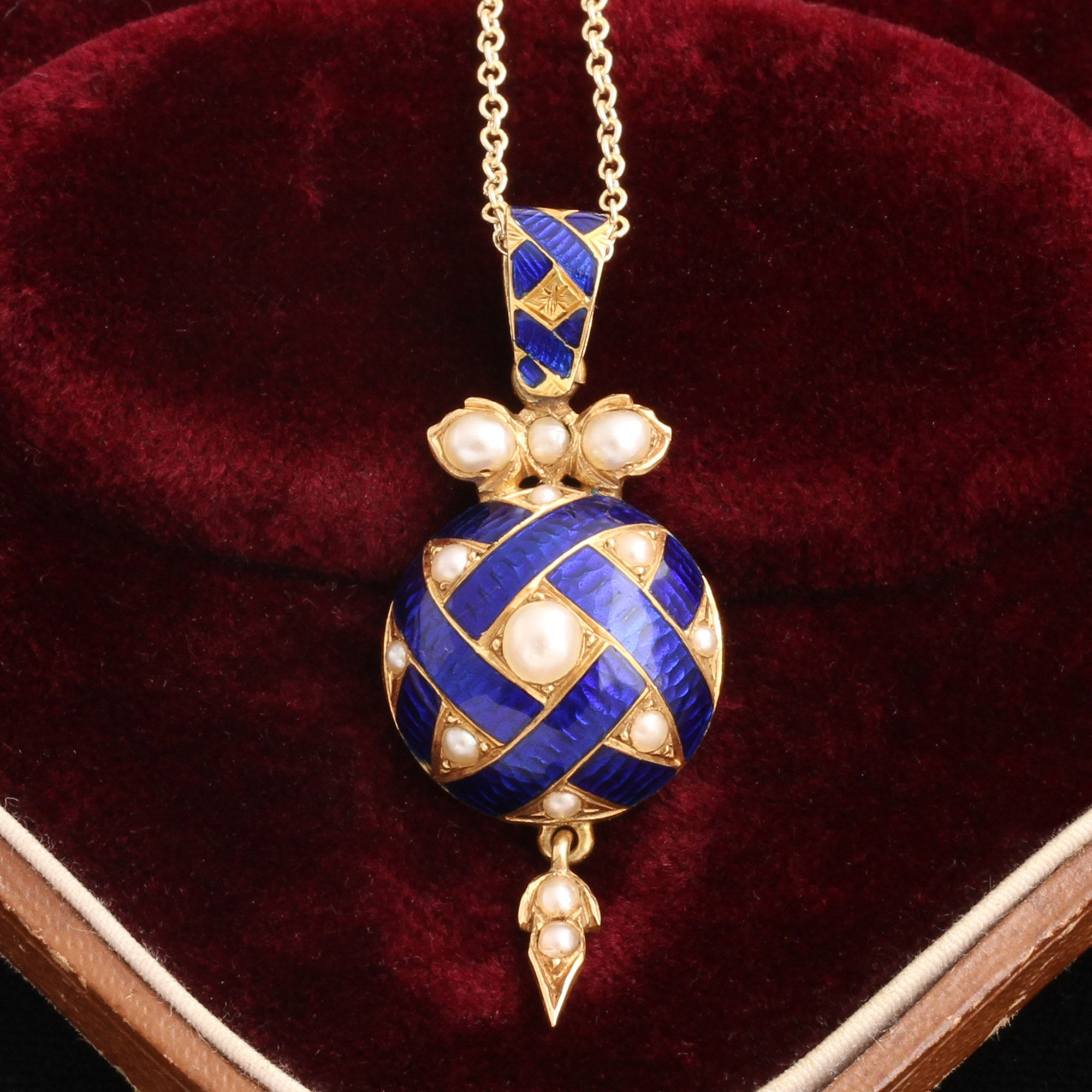 Victorian Pearl & Blue Enamel Ribbon Locket