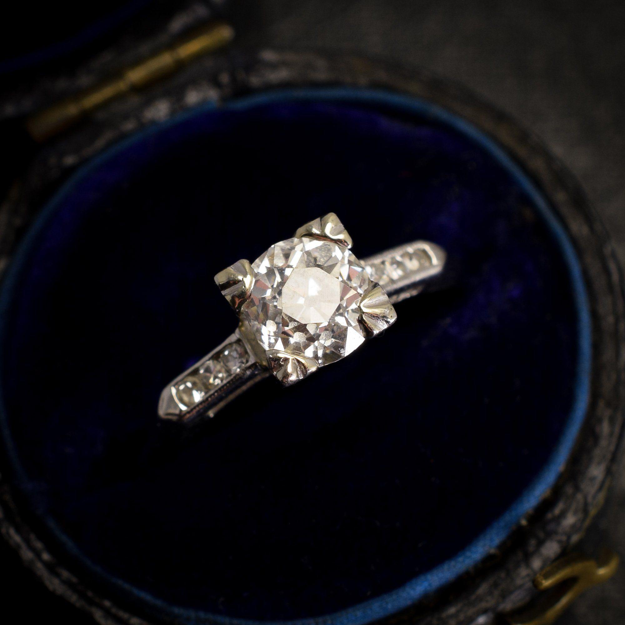 1950s Platinum Knife Edge .93ct Diamond Engagement Ring
