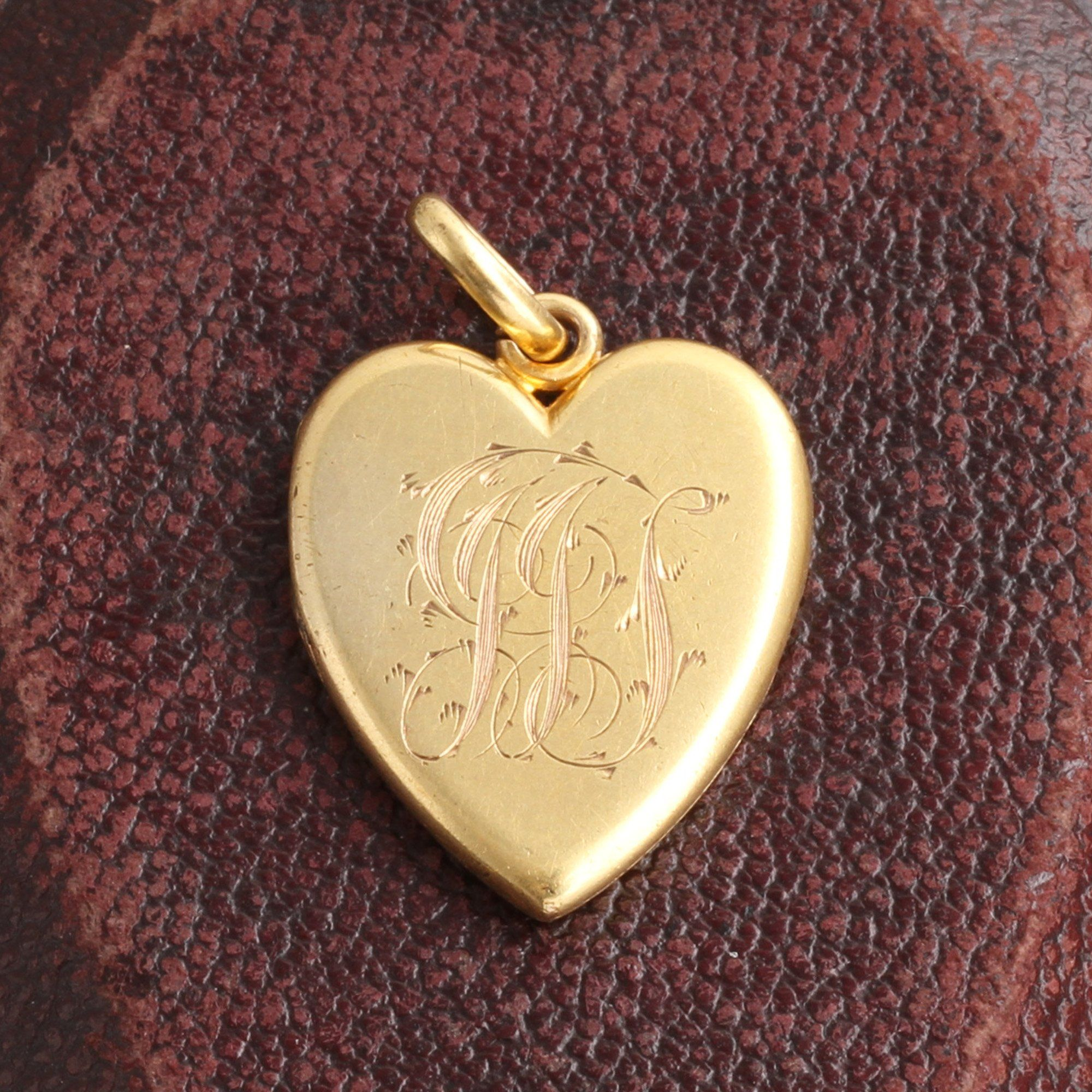 "Victorian ""JJS"" First Communion Heart Locket"