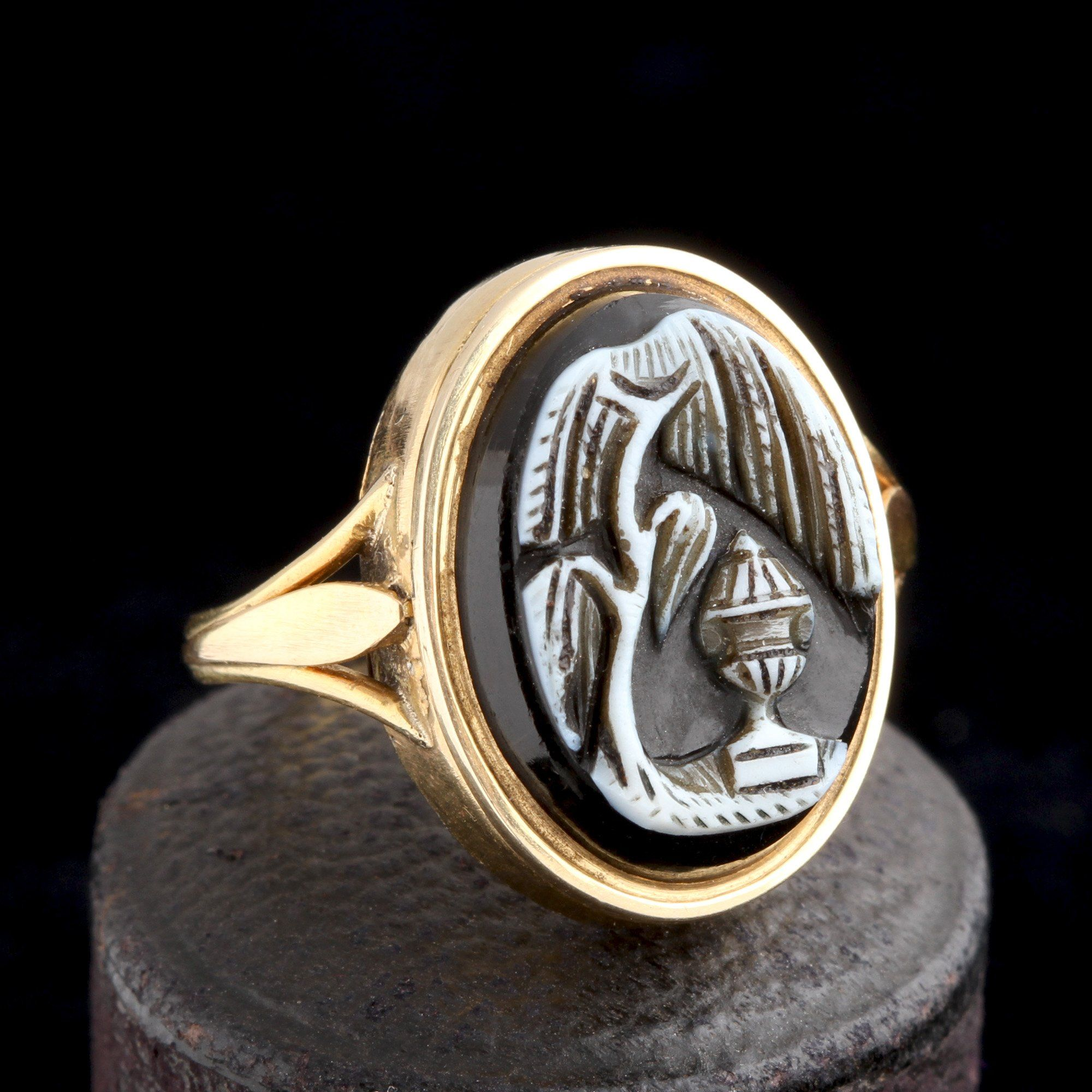 19th Century French Mourning Scene Cameo Ring