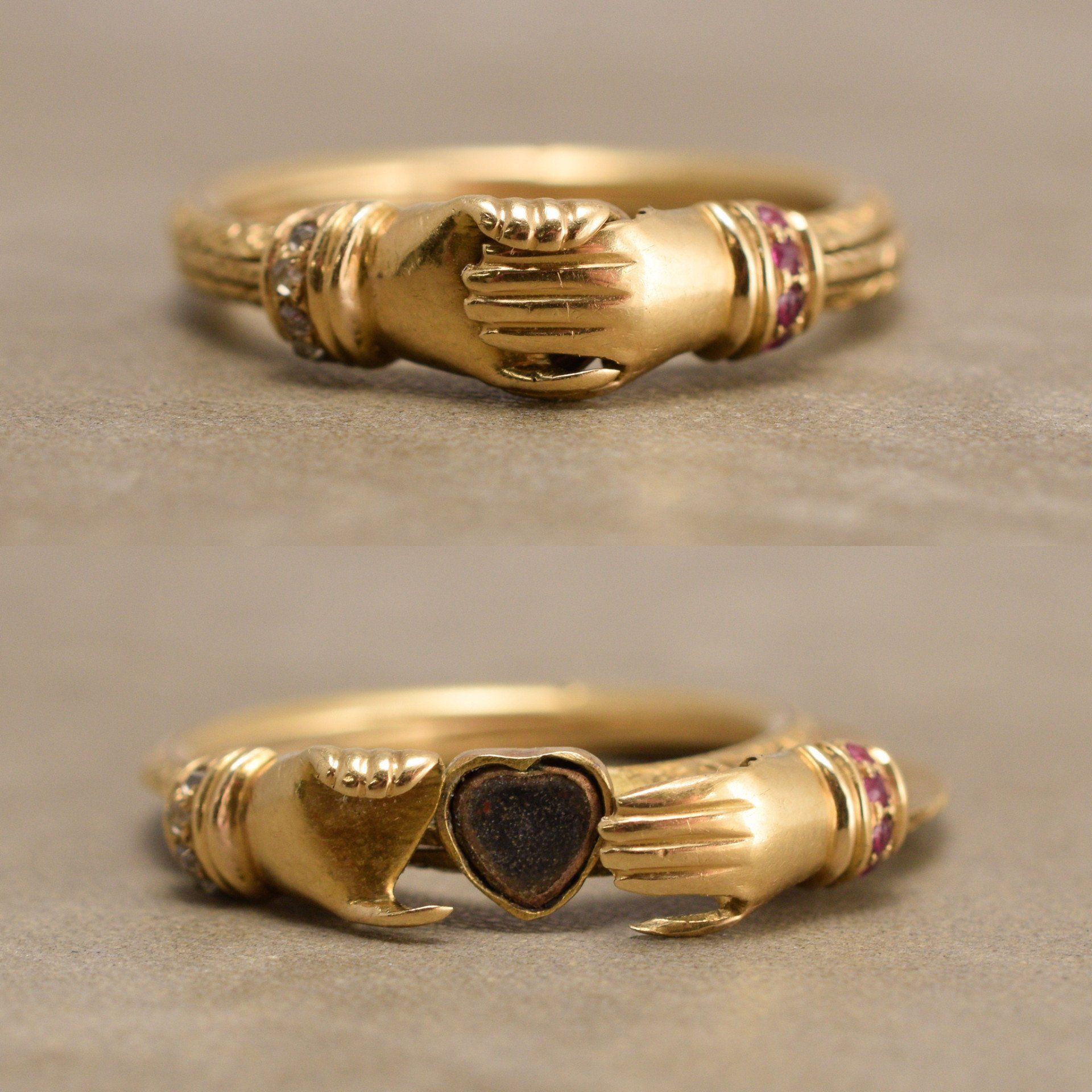 Victorian Fede Ring with Rubies and Diamonds