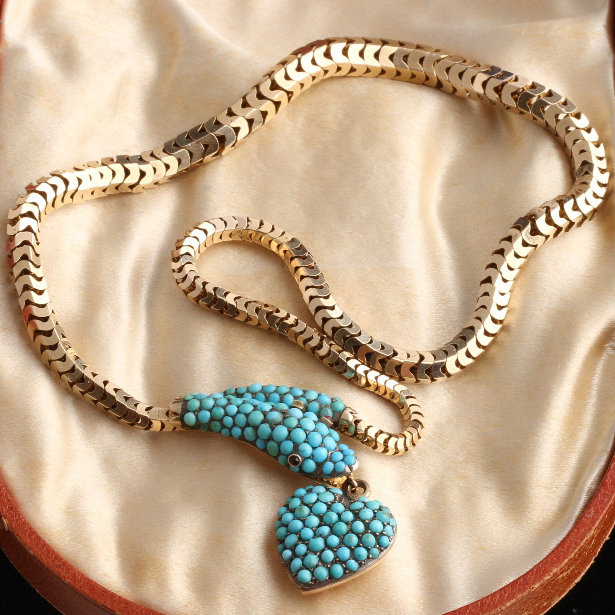 Victorian Turquoise Snake Collar with Heart Pendant In Original Box