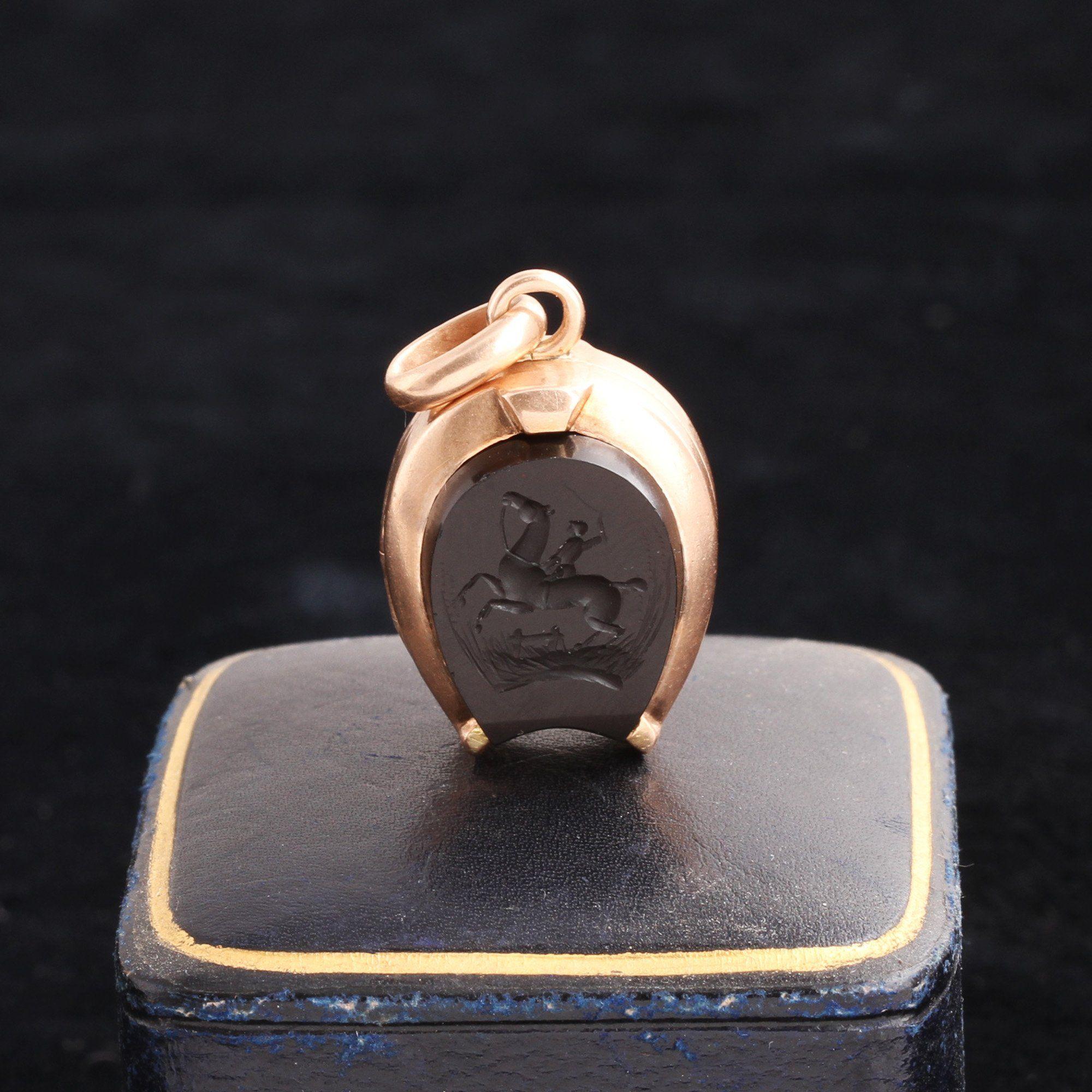 Victorian Horseshoe Locket with Onyx Intaglio