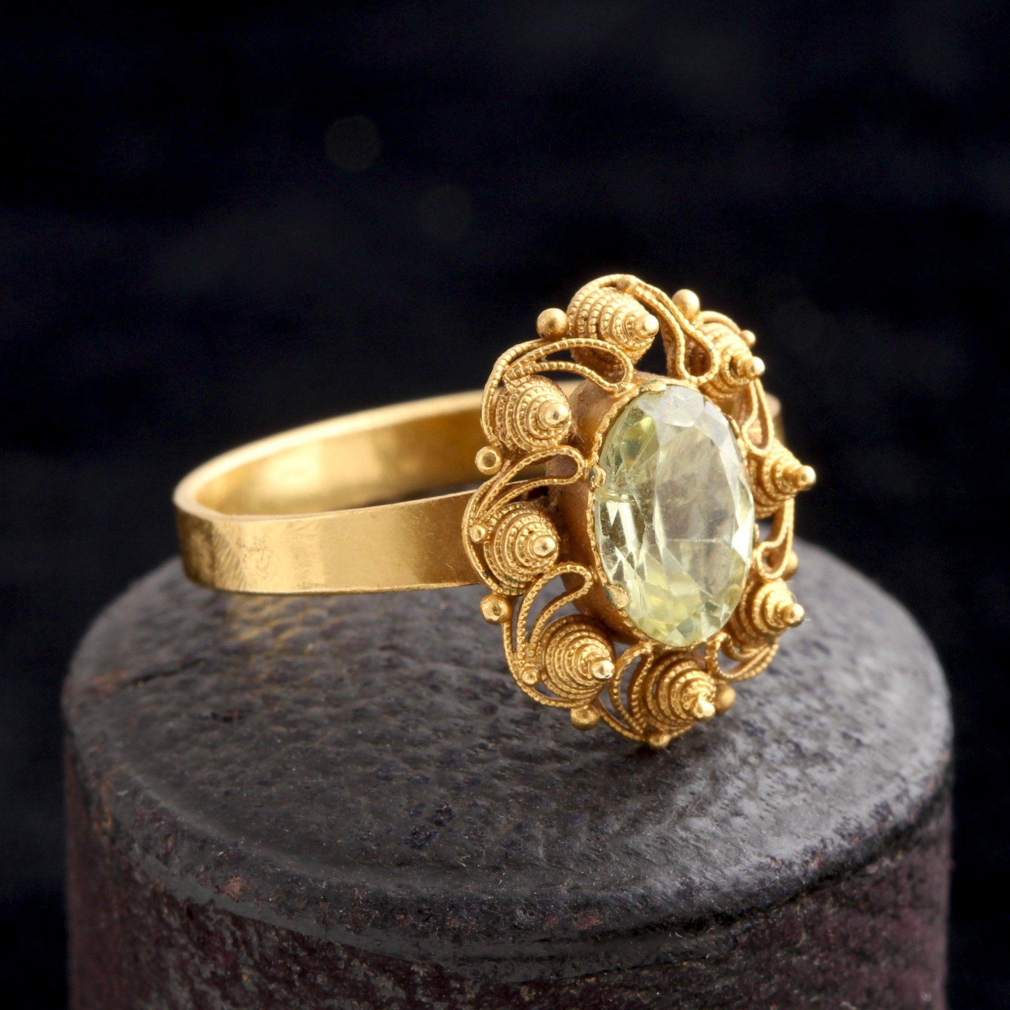 Victorian Etruscan Revival Chrysoberyl Ring