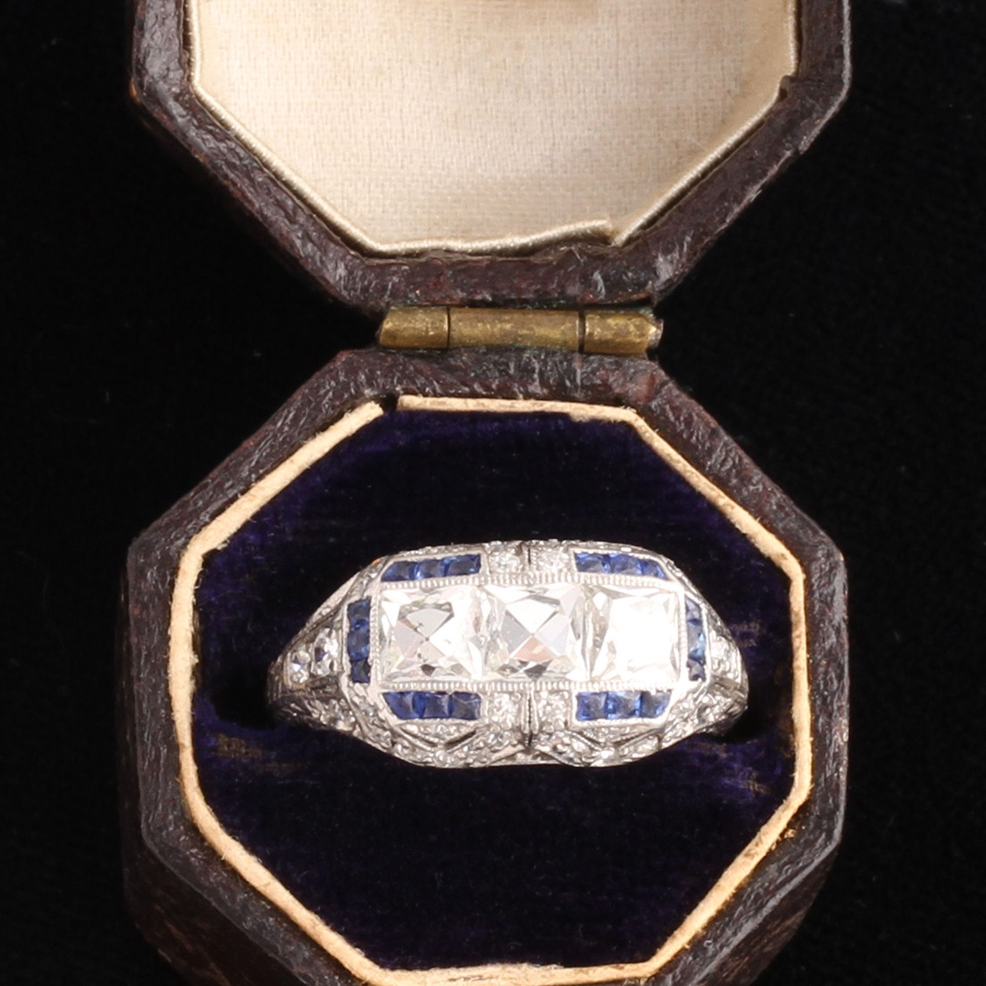 Art Deco French Cut Diamond Trilogy Ring