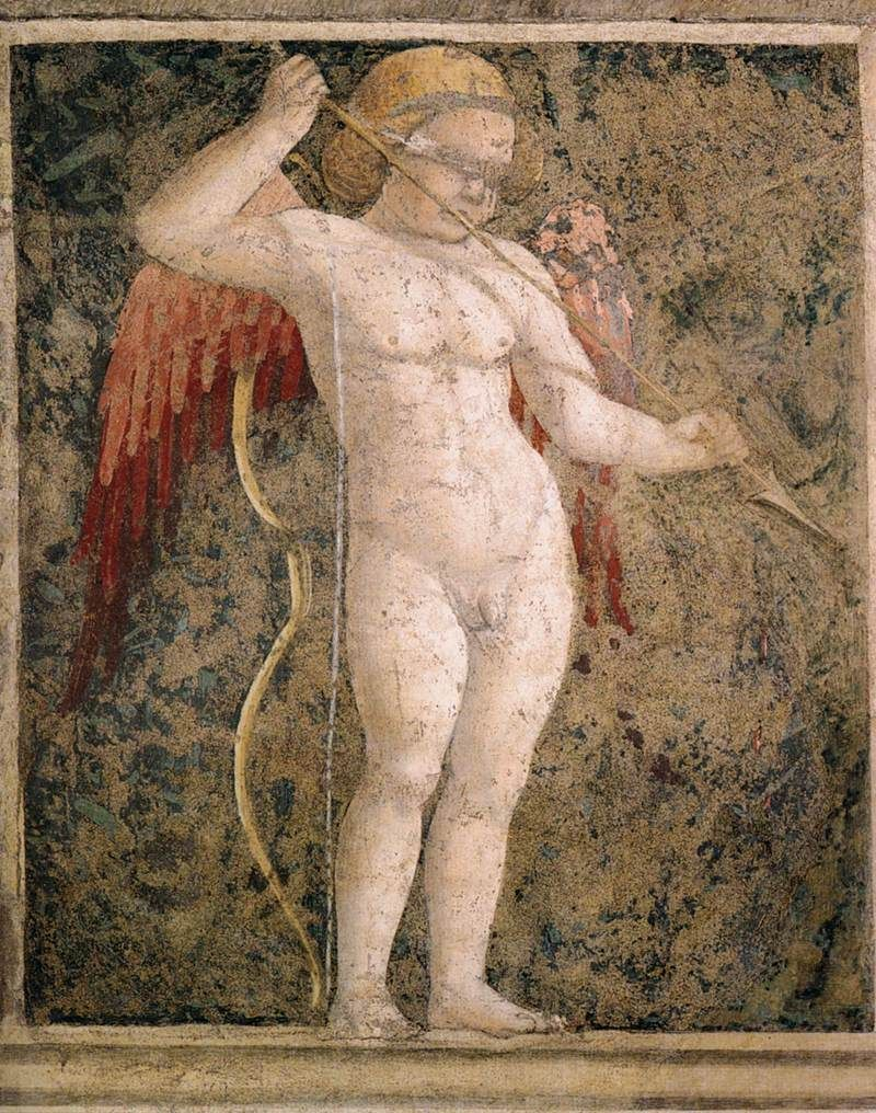 Photo of a wall mural of cupid blindfolded by Piero della Francesca, c. 1452
