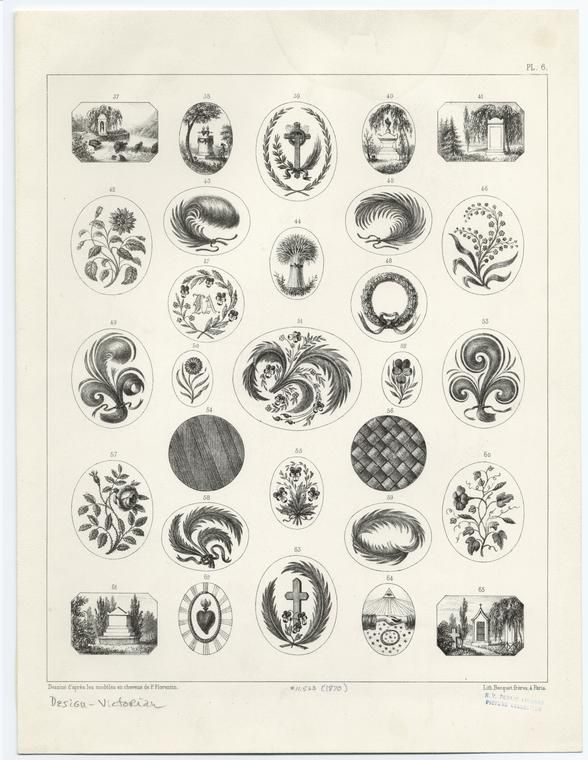 Victorian design ideas for hairwork, some to be painted onto ivory and mounted under glass.