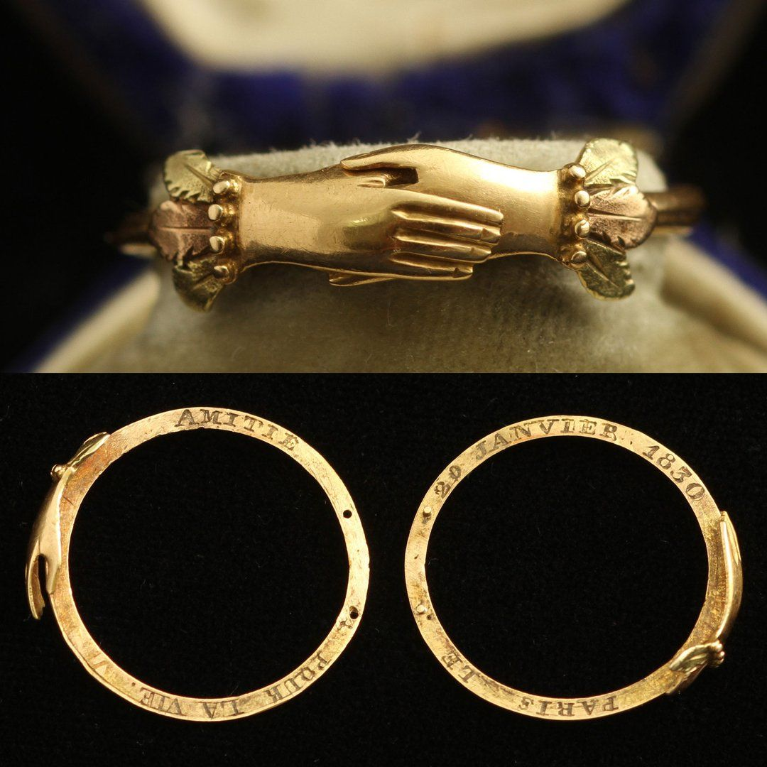 Early 19th Century French Interlocking Fede Ring with Concealed Dedication