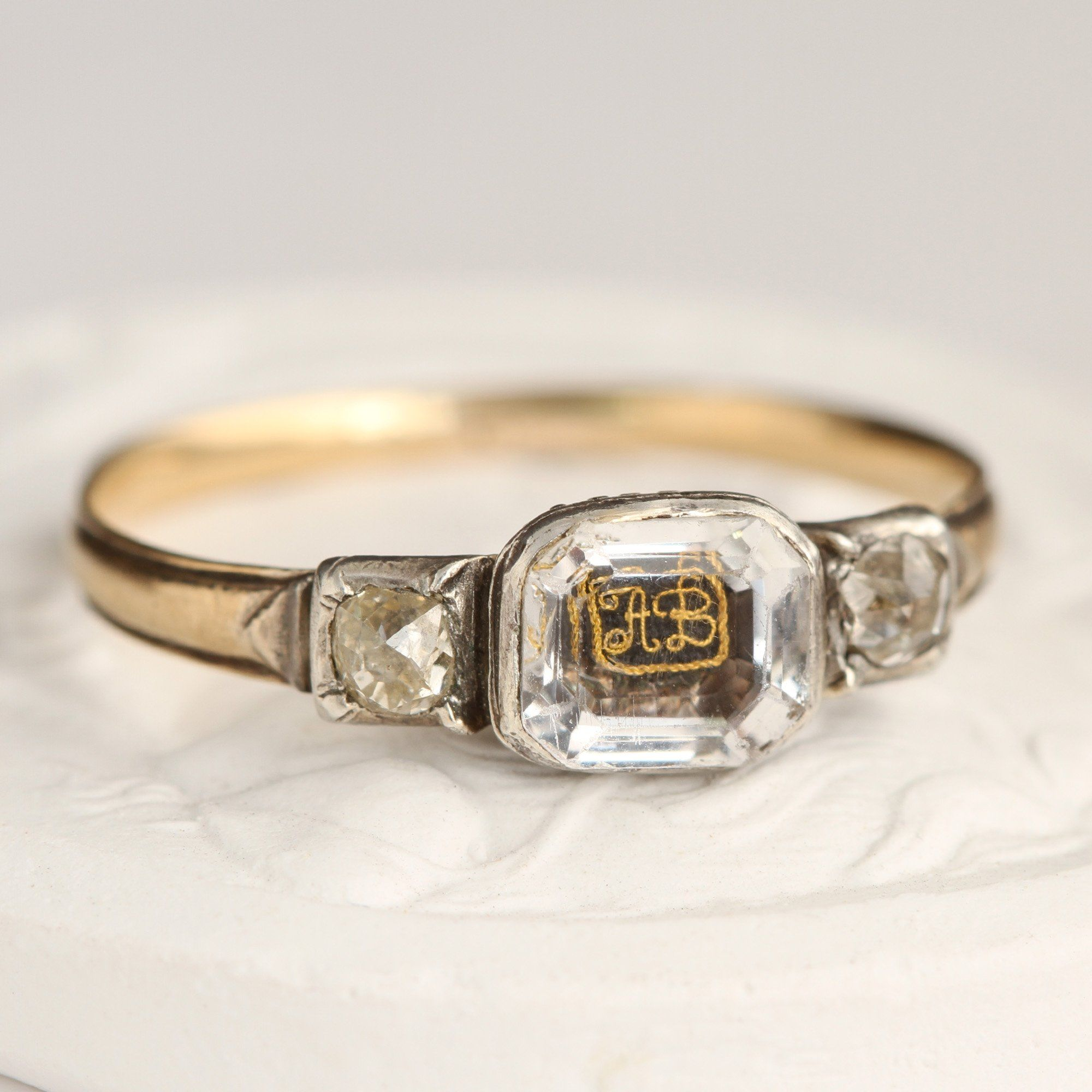 """Detail of Stuart Crystal Ring with """"AB"""" Cipher and Old Mine Cut Diamonds"""