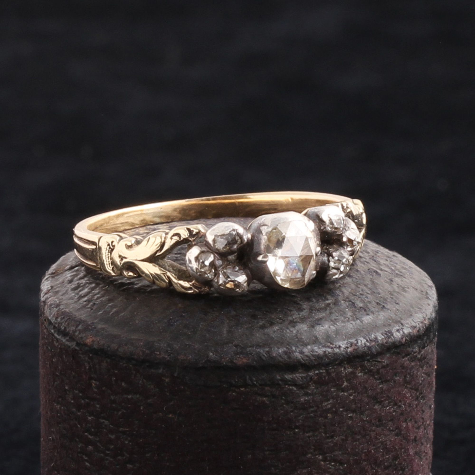 Georgian Diamond Ring with Trefoil Accents