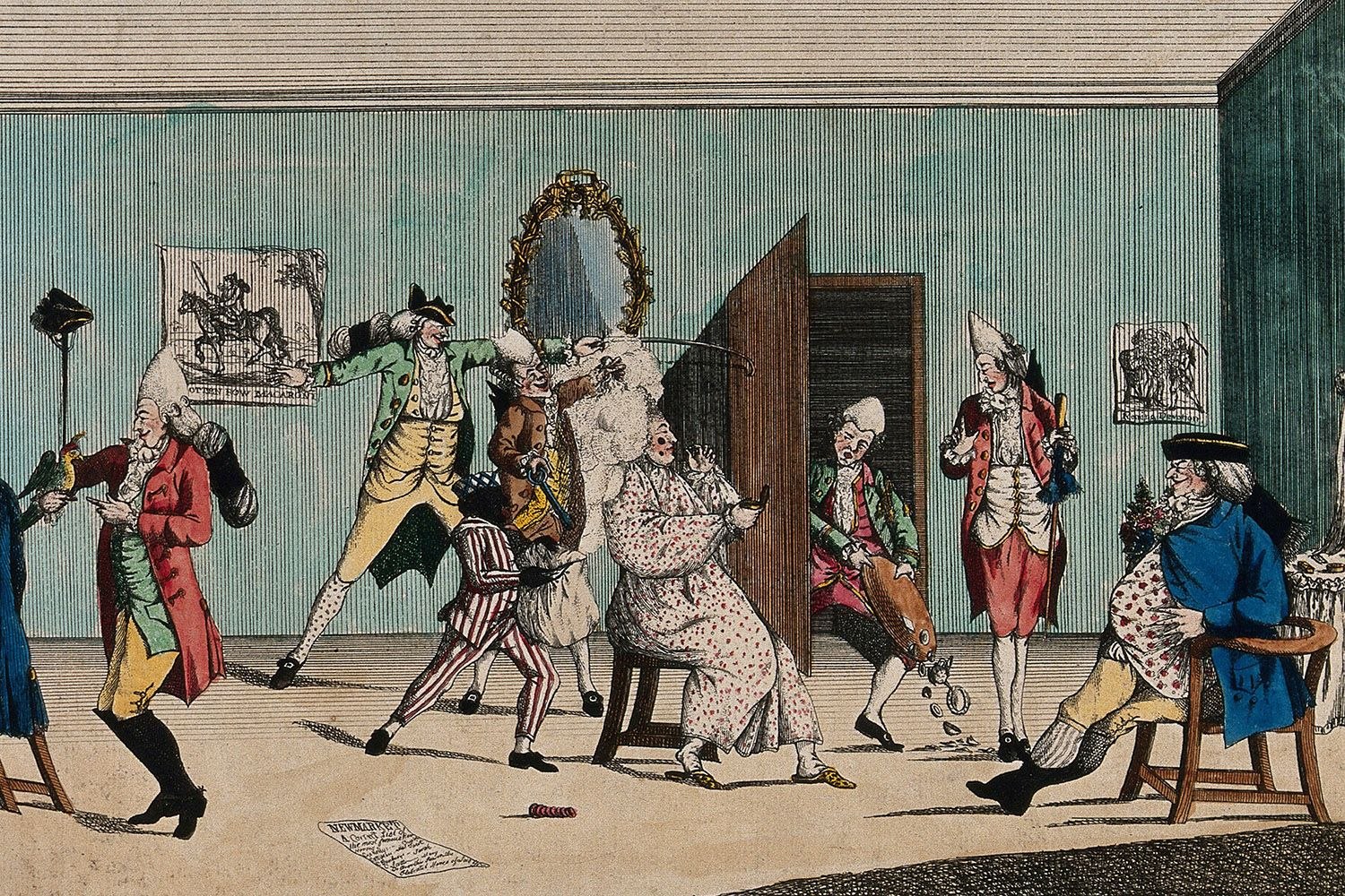 A macaroni dressing room, colored etching by I.W., 26 June 1772.