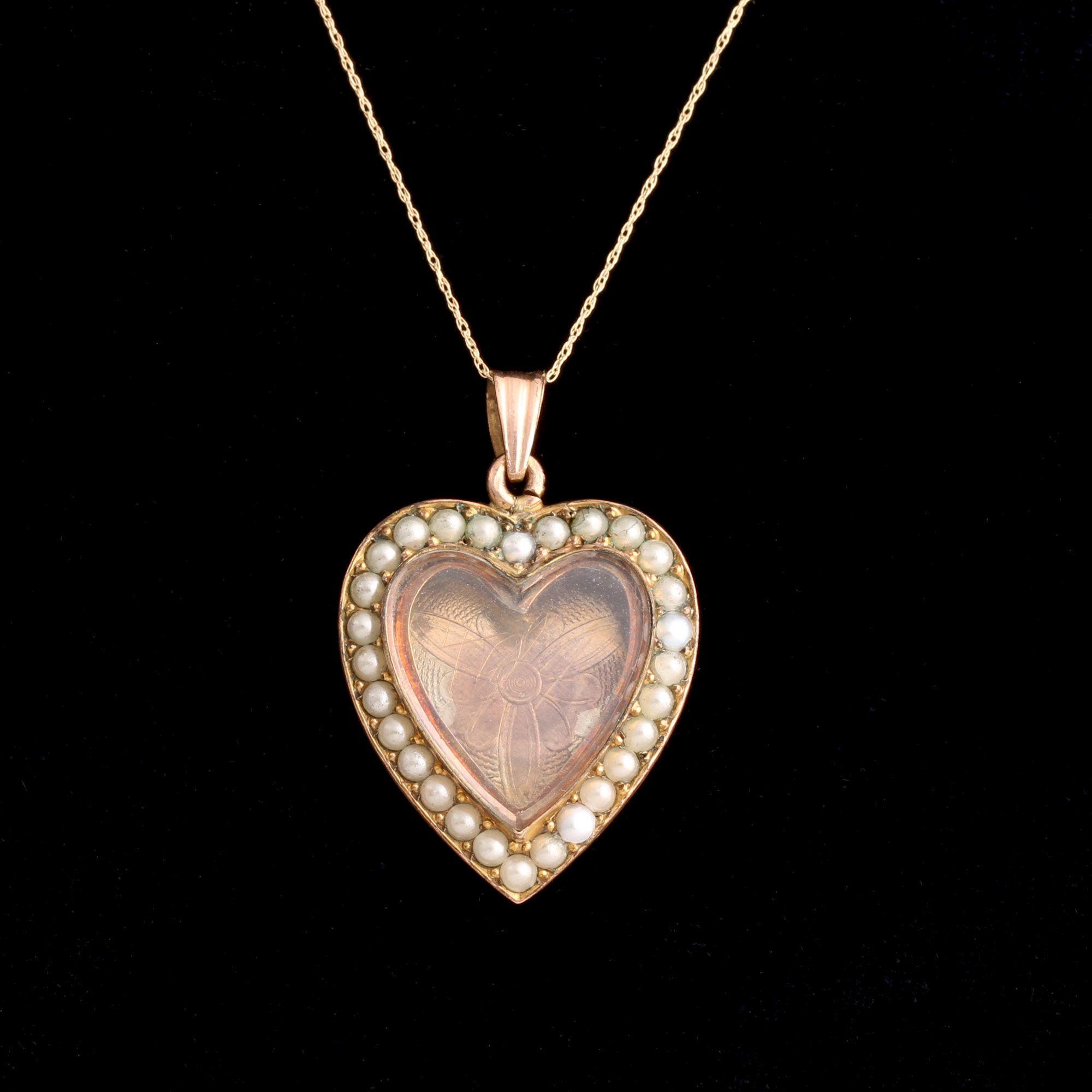 Victorian Seed Pearl Heart Locket