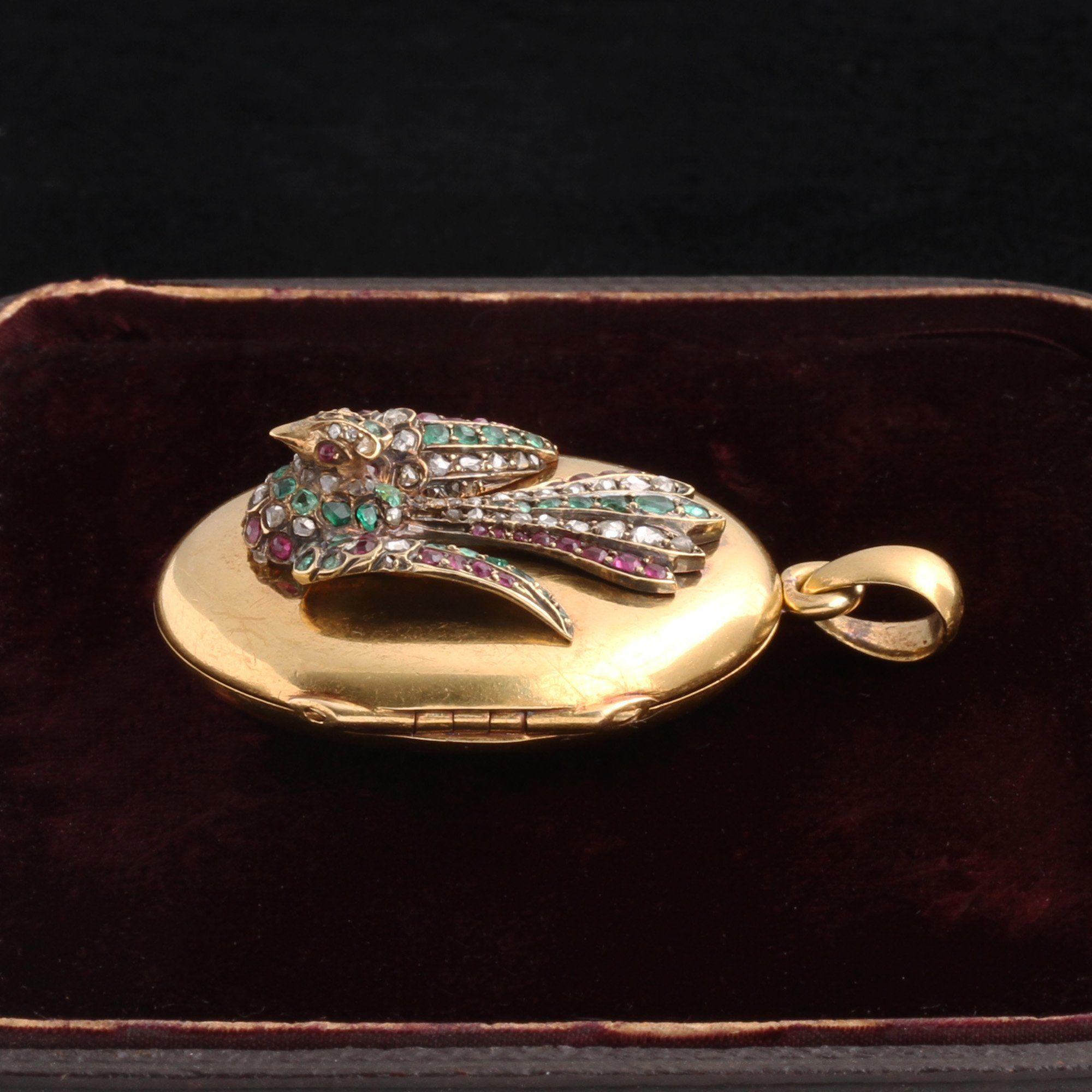 Victorian Gemstone Phoenix Locket