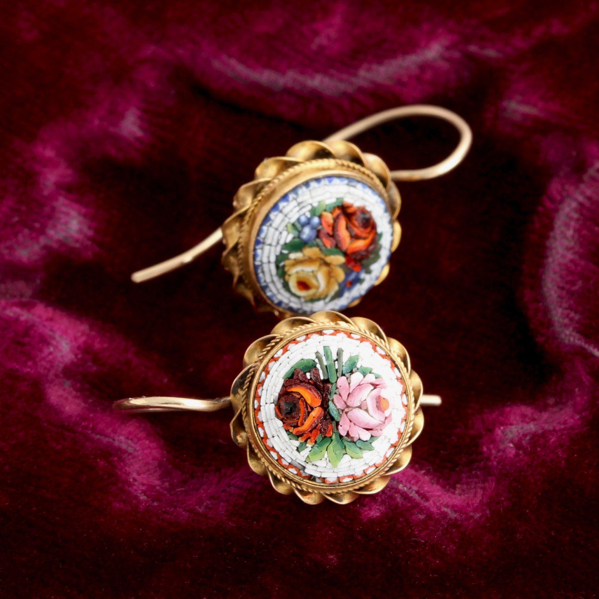 Victorian Micromosaic Flower Earrings