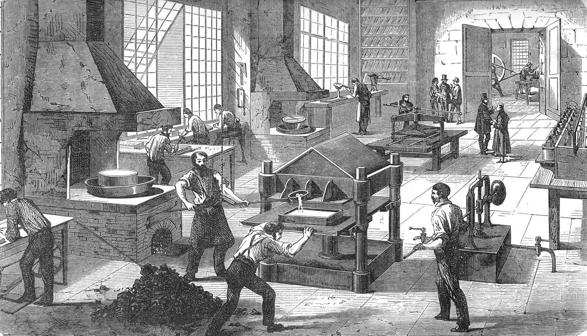 Illustration of an Electroplating factory, 19th century.