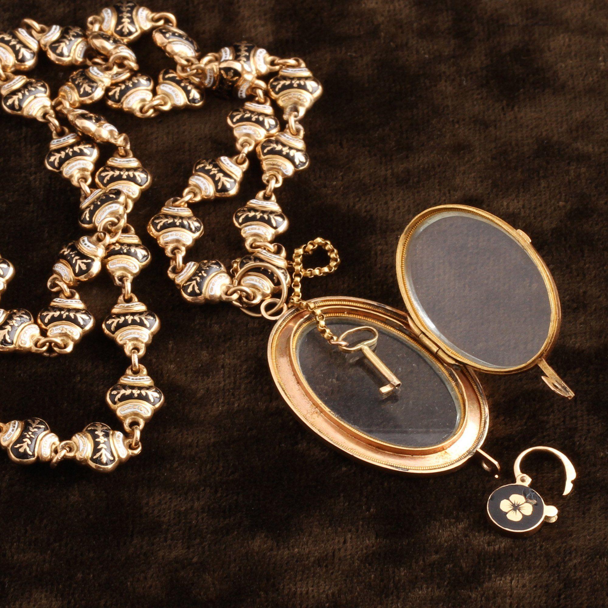 Mid 19th Century Swiss Enamel Necklace with Locket, Padlock and Key