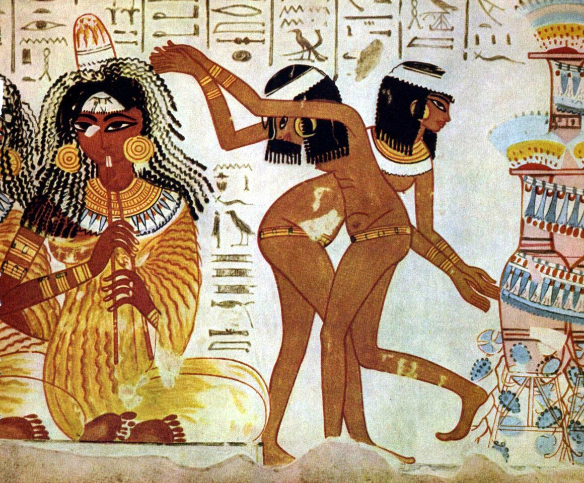 In ancient Egypt, people wore scents in unguent cones, which were like wax hats that dripped oil into one's hair over the course of the day. (See woman at left.)