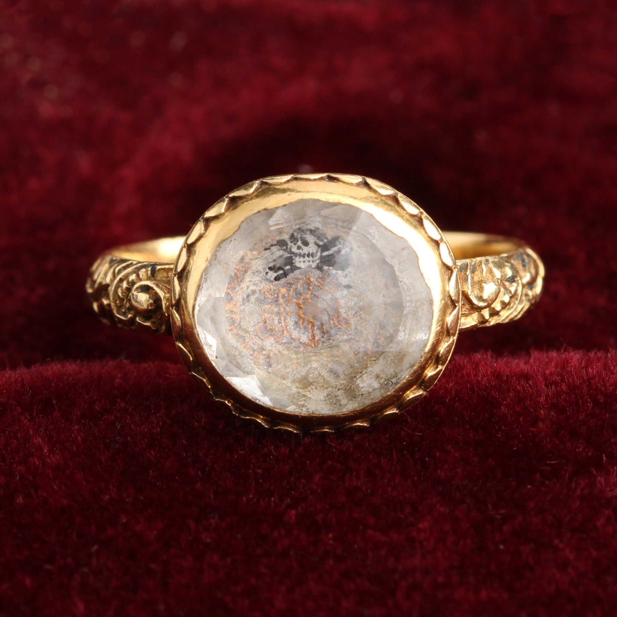 High carat gold stuart crystal mourning ring, c. 1680, from the EWJ archives.