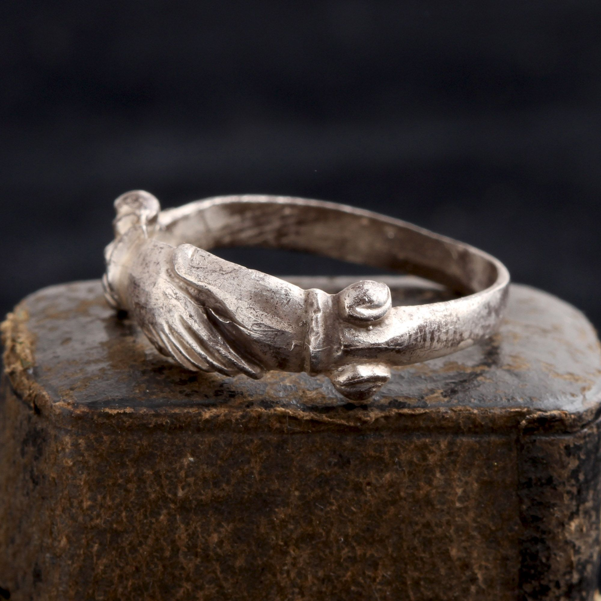 Early 18th Century Silver Fede Ring