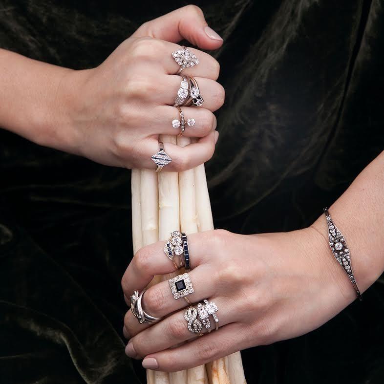 Art Deco Epaulet .85ct Diamond Engagement Ring
