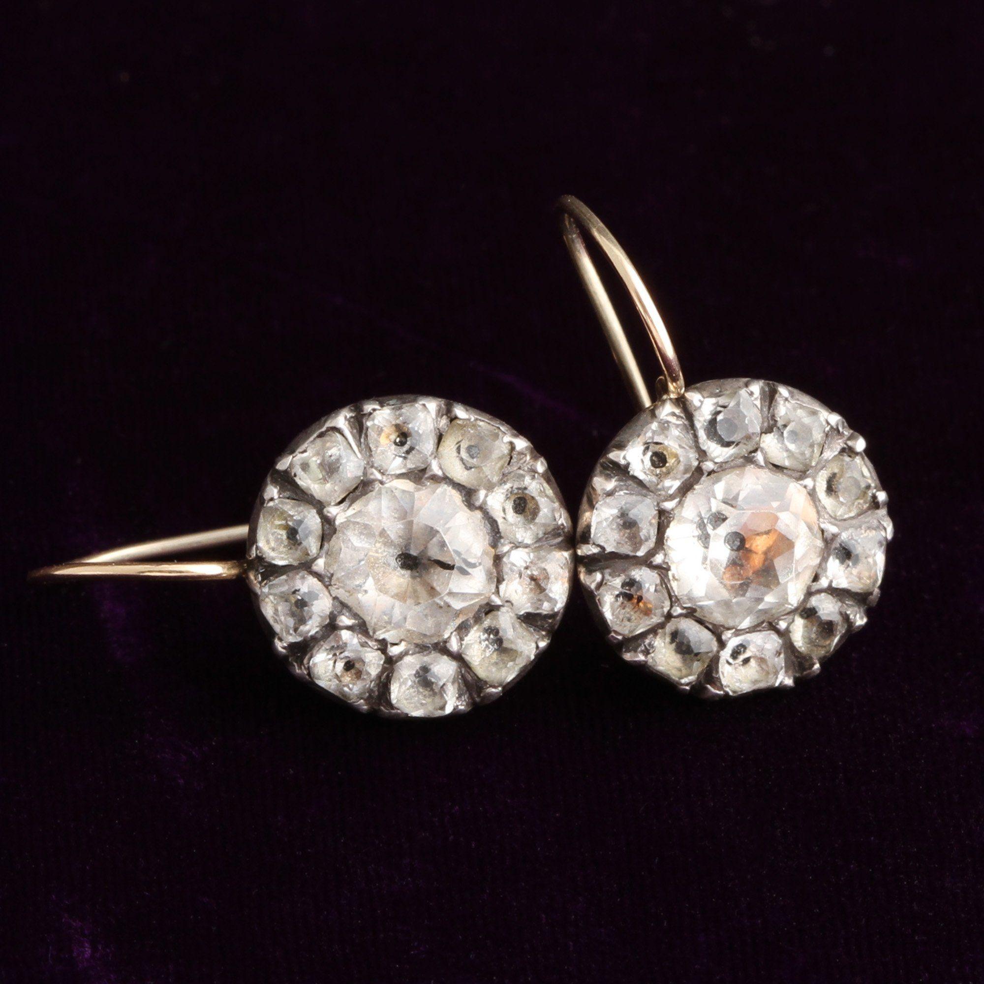 Georgian White Paste Cluster Earrings