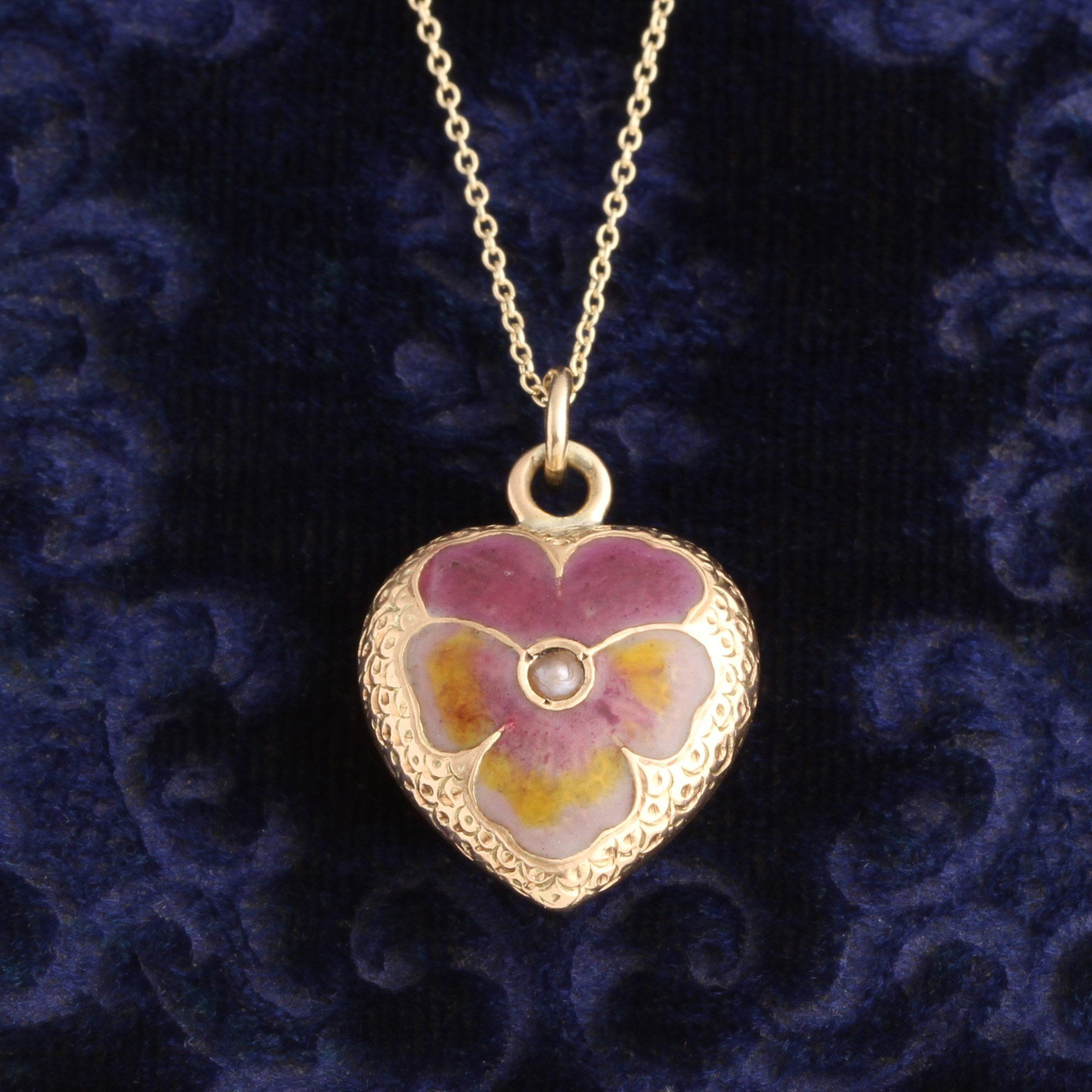 Victorian Enamel Pansy Heart Necklace
