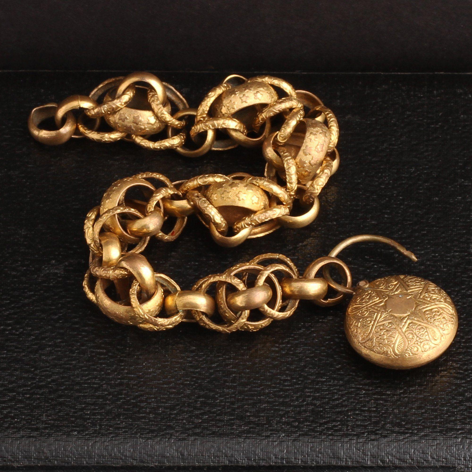 Georgian Pinchbeck Fancy Link Chain Bracelet with Padlock