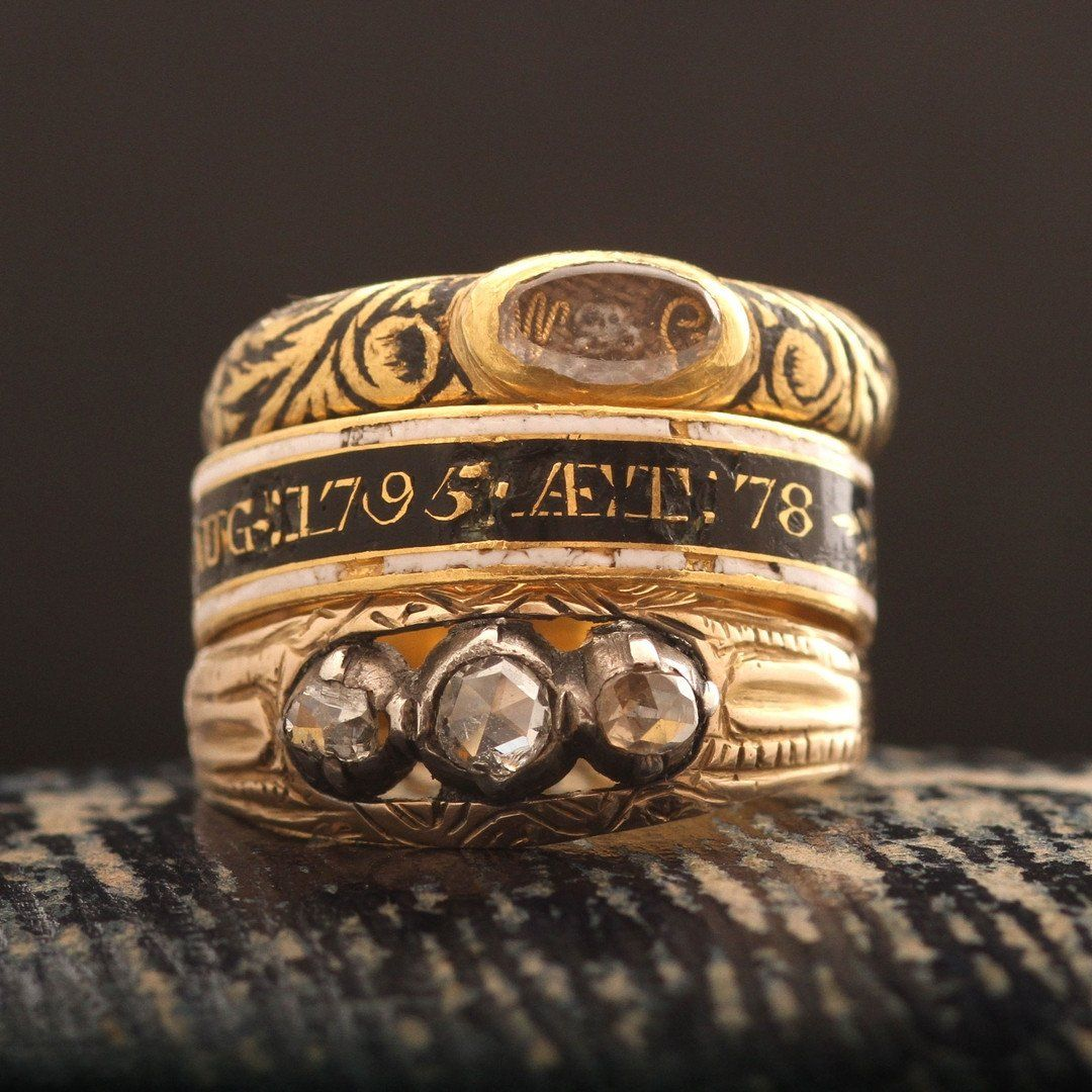 Baroque Mourning Ring with Skull and Crossbones and Cipher