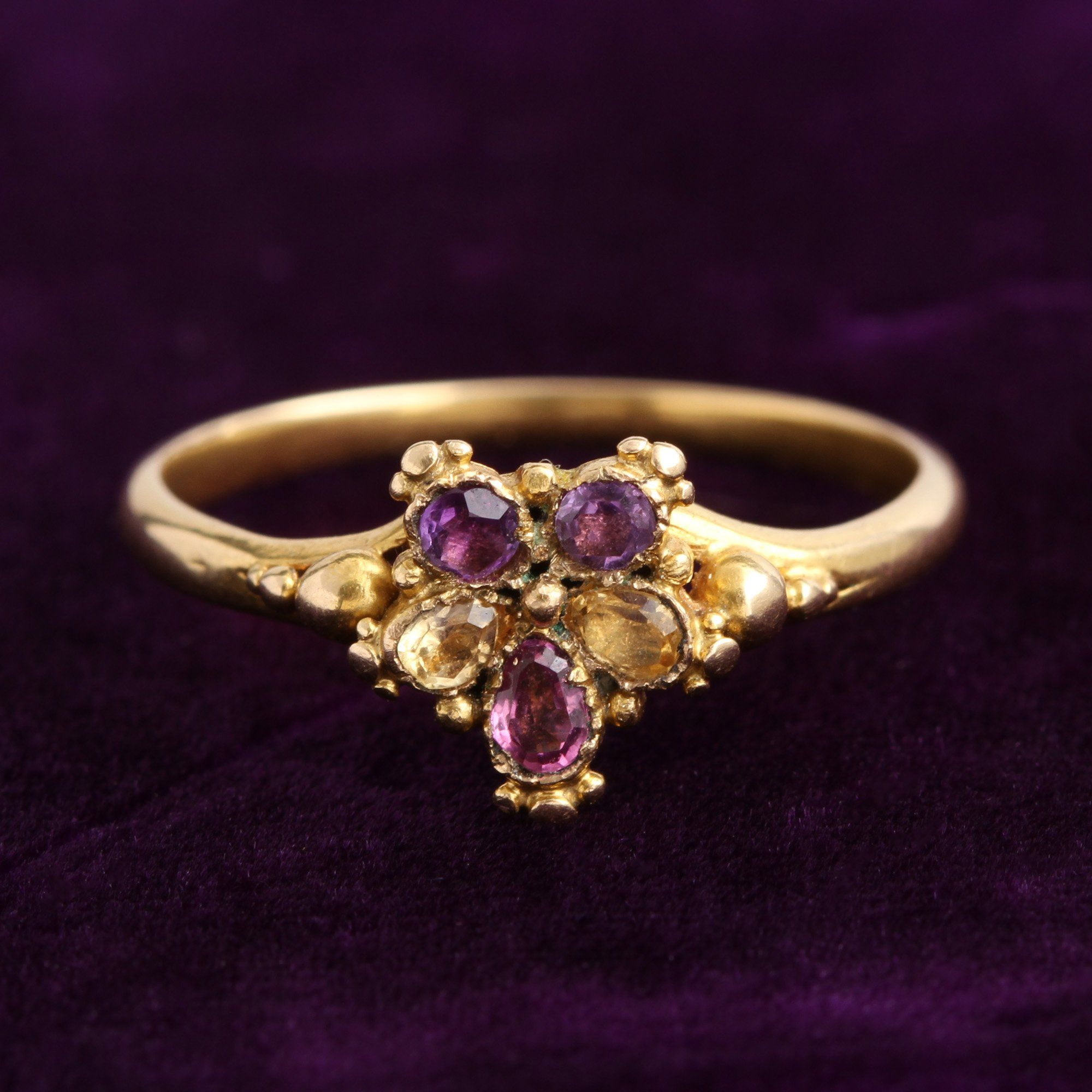 Detail of Georgian Amethyst and Citrine Pansy Ring