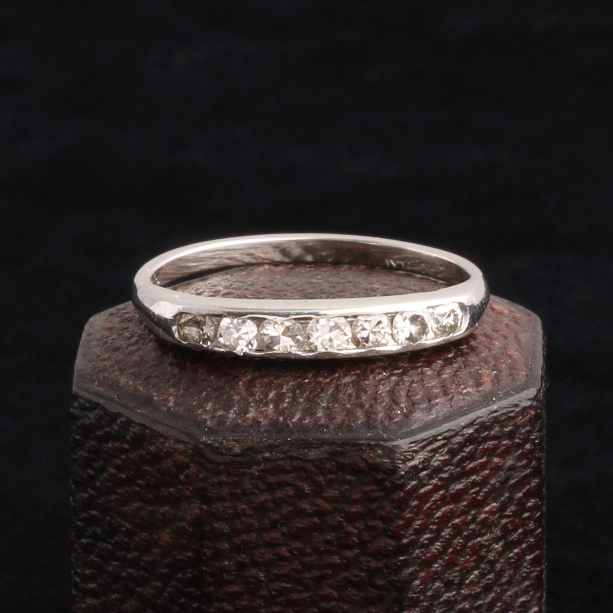Vintage Platinum Half Eternity Ring Size 6.5