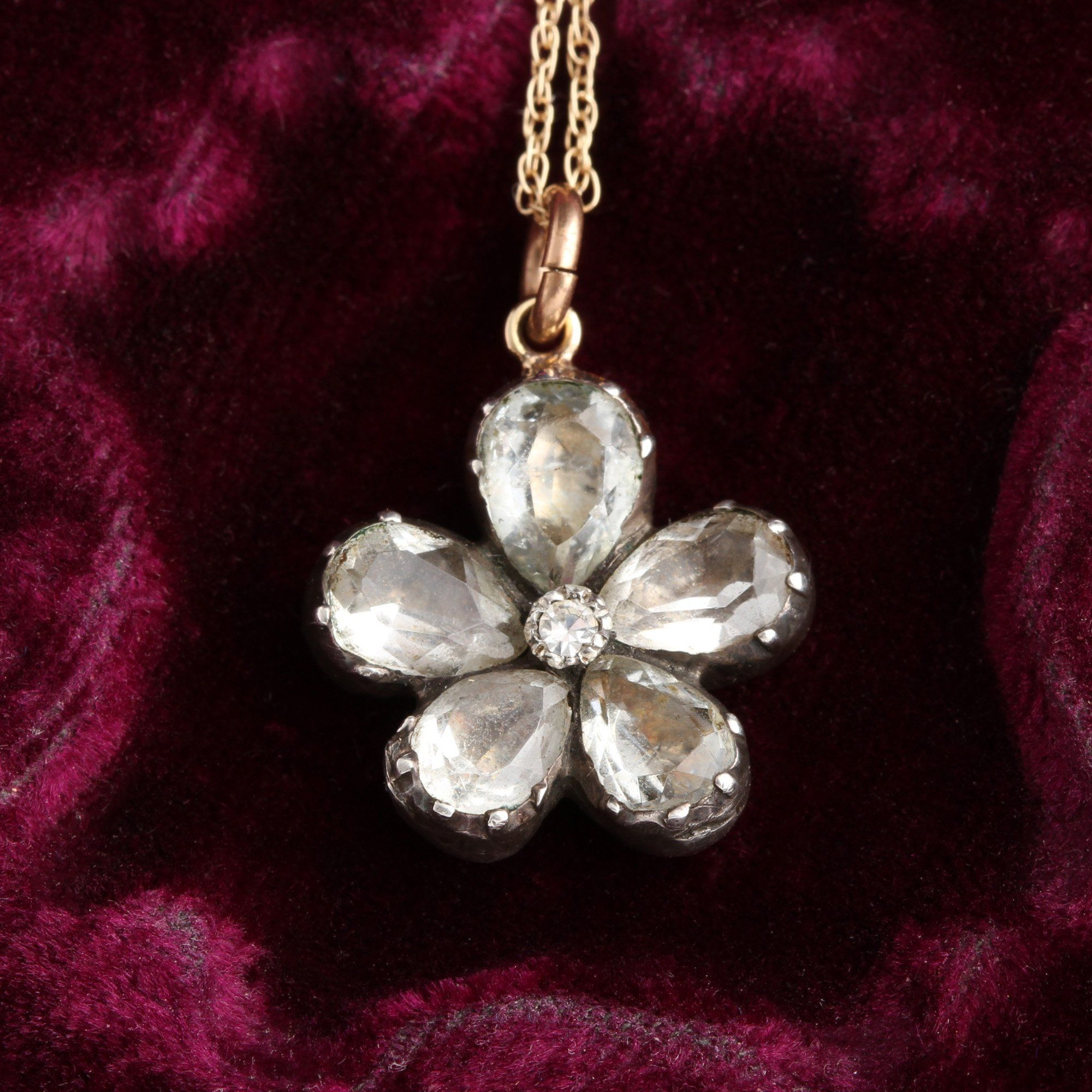Detail of Georgian Rock Crystal Pansy Pendant