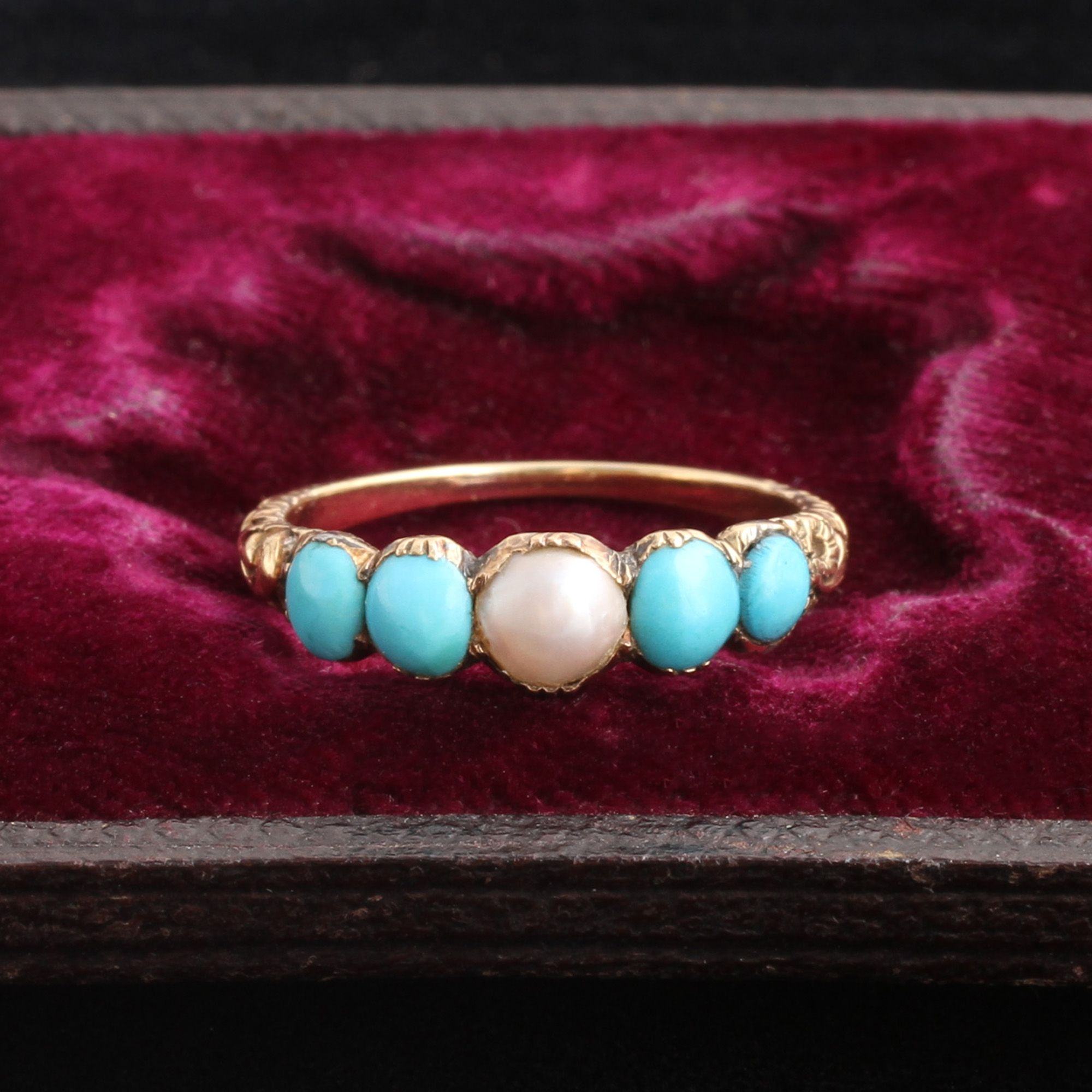 Detail of Georgian turquoise and pearl ring